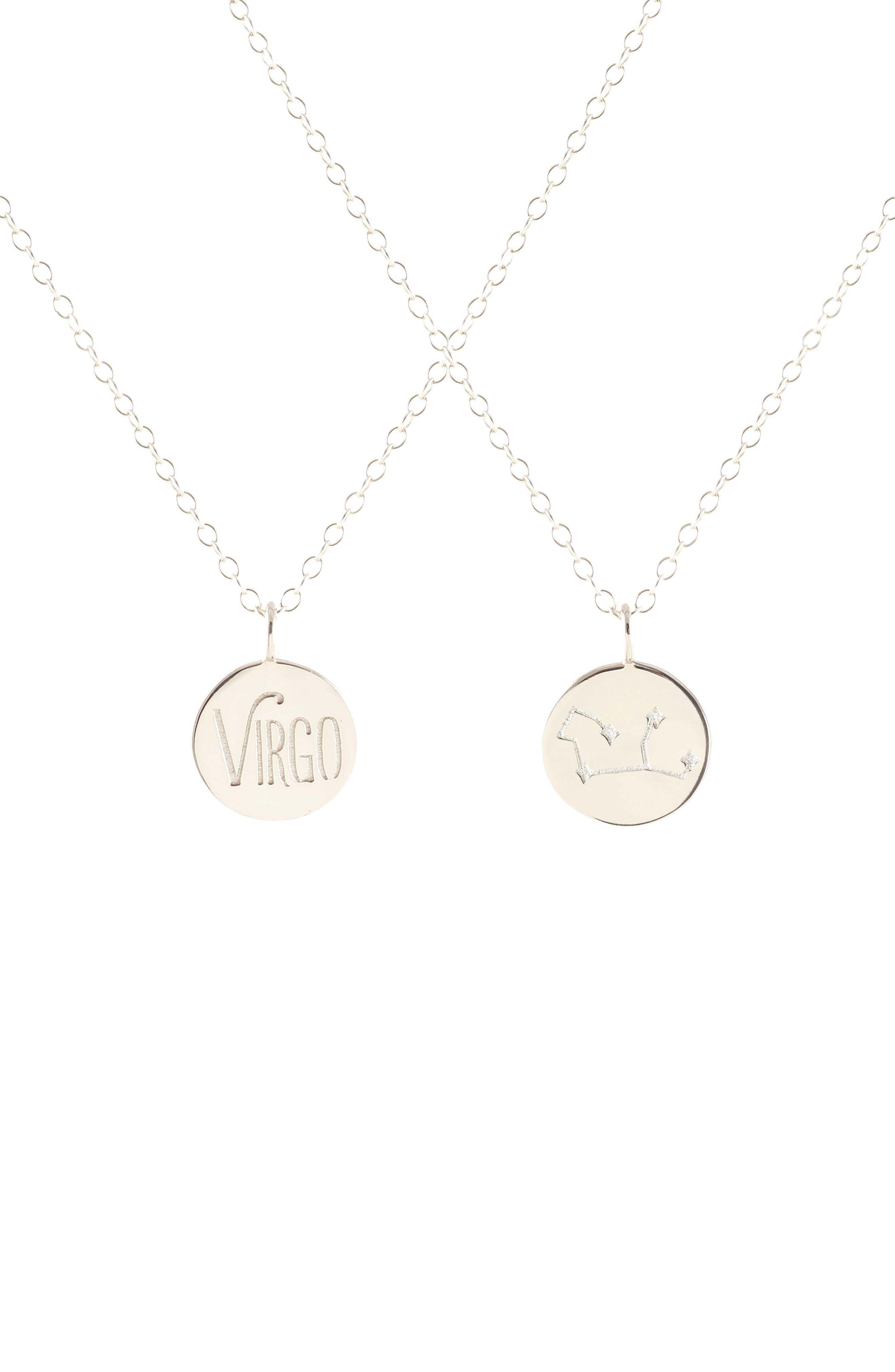 Zodiac Charm Necklace,                         Main,                         color, Virgo - Silver