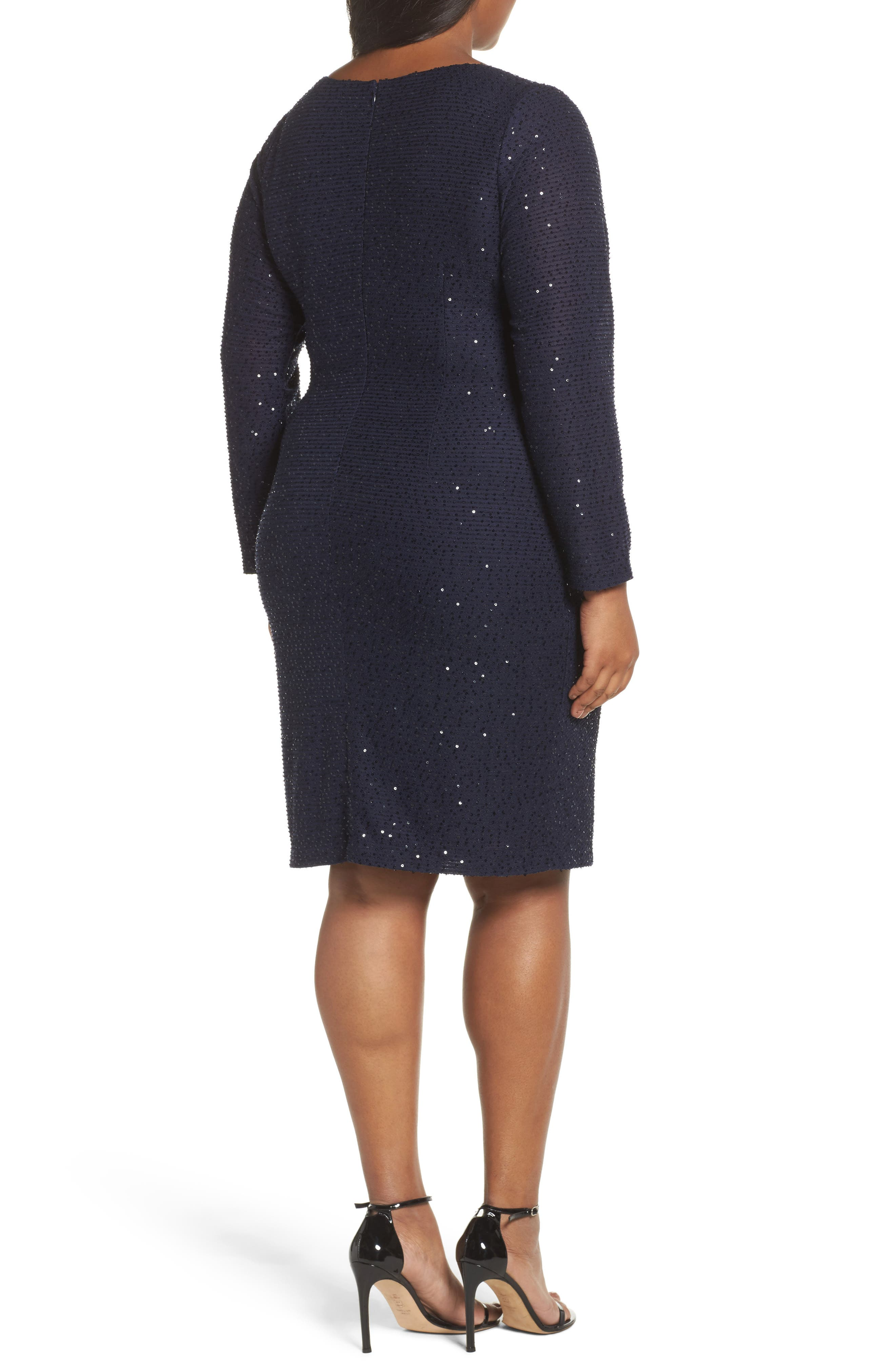 Sequin Knit Long Sleeve Dress,                             Alternate thumbnail 2, color,                             Navy