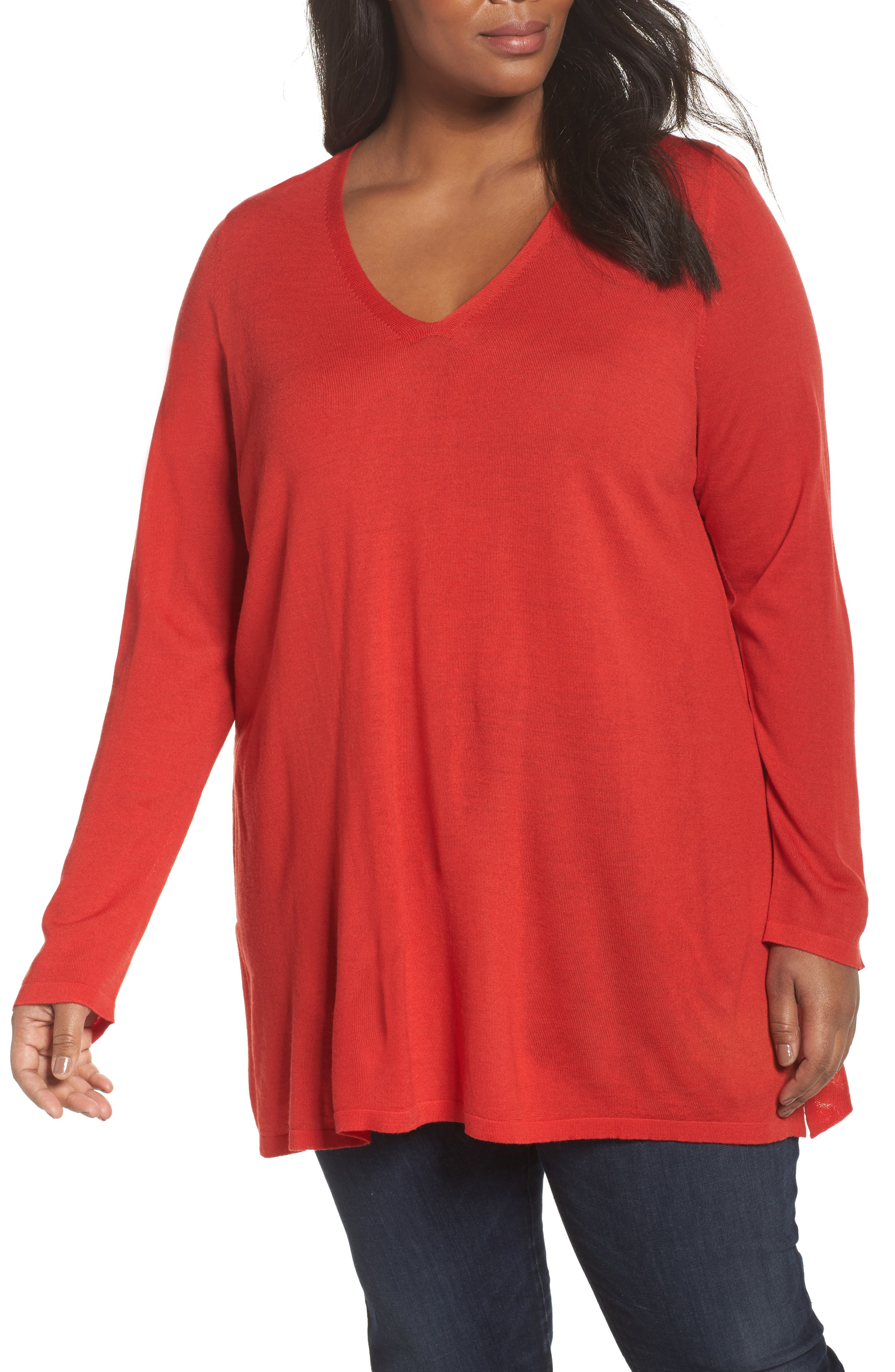 Eileen Fisher Merino Wool Tunic Sweater (Plus Size)