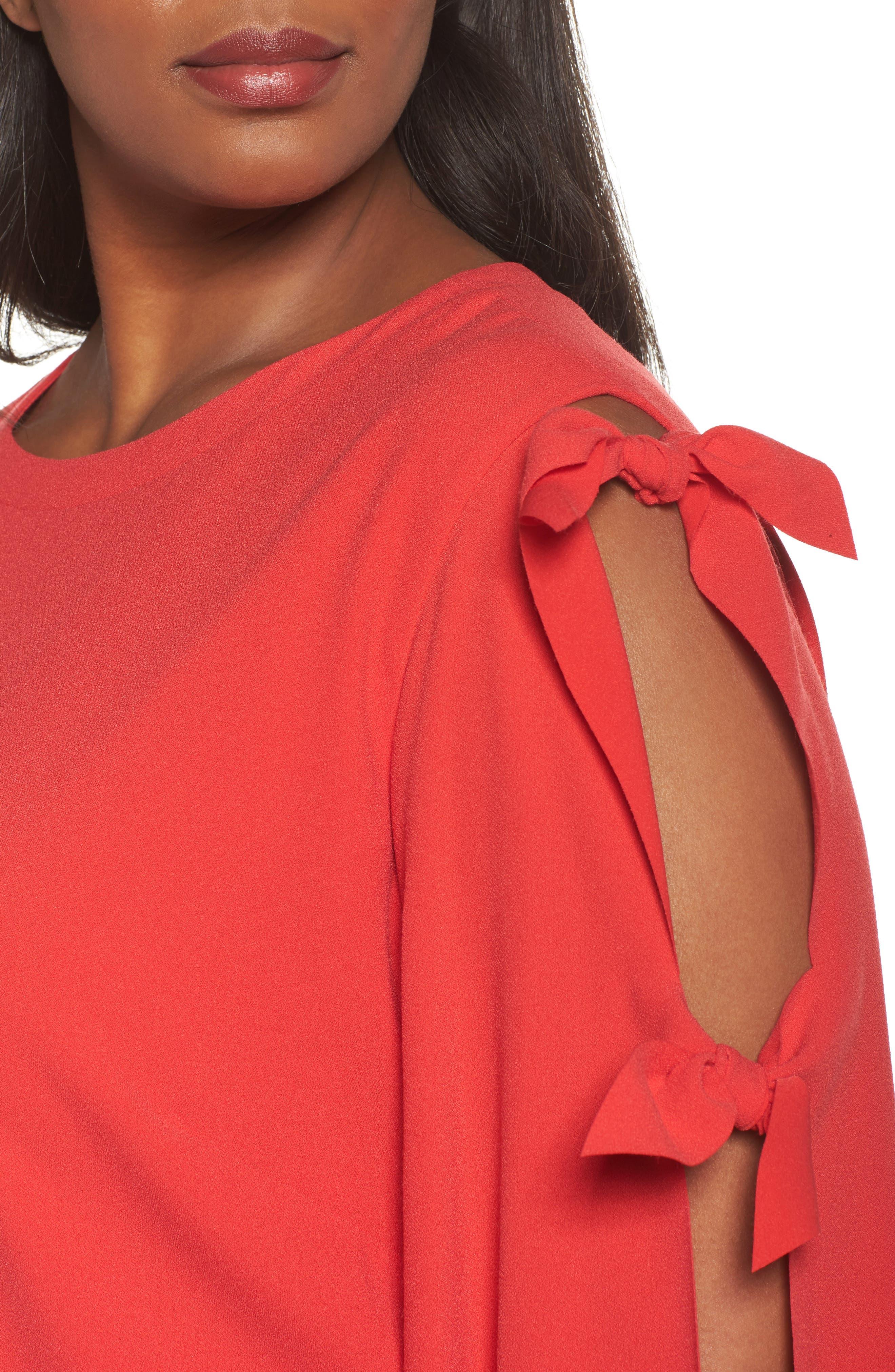 Split Tie Sleeve Shift Dress,                             Alternate thumbnail 4, color,                             Fiesta Pink