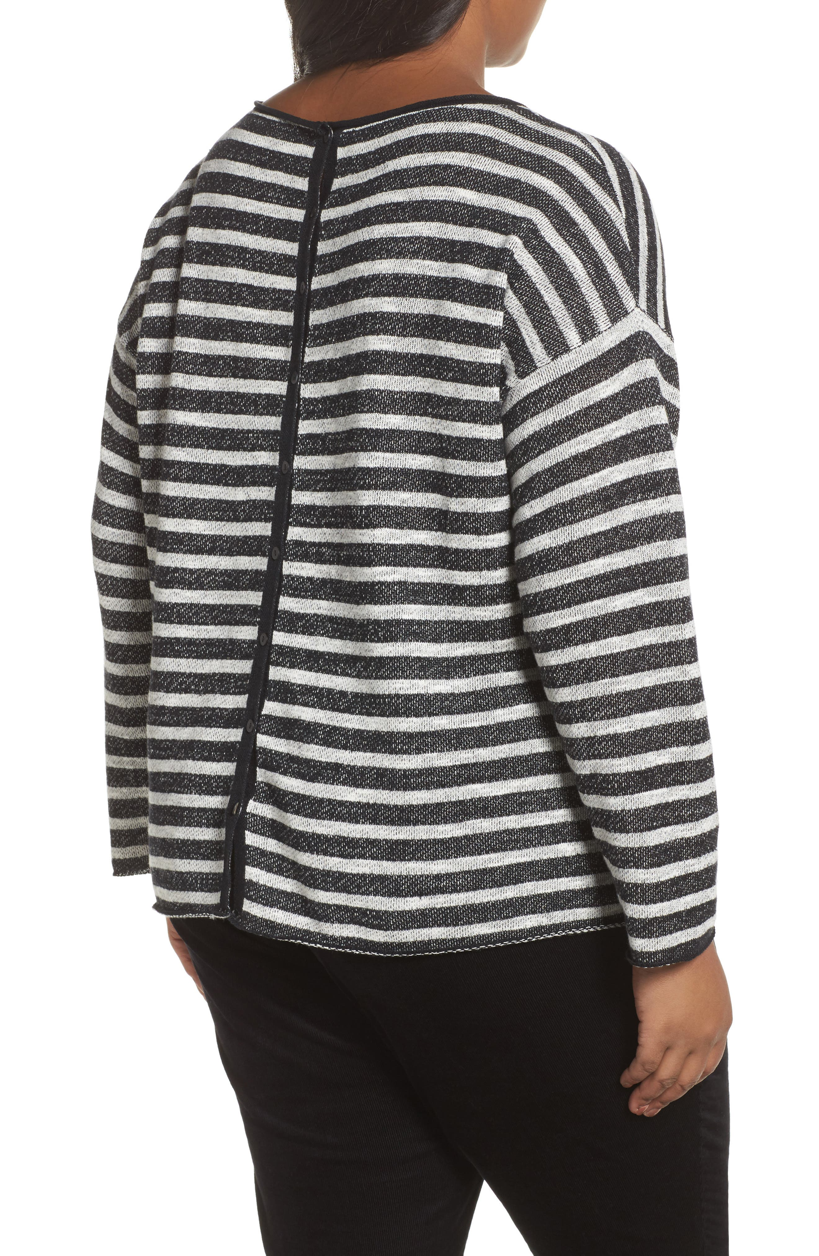 Alternate Image 2  - Eileen Fisher Striped Pullover (Plus Size)