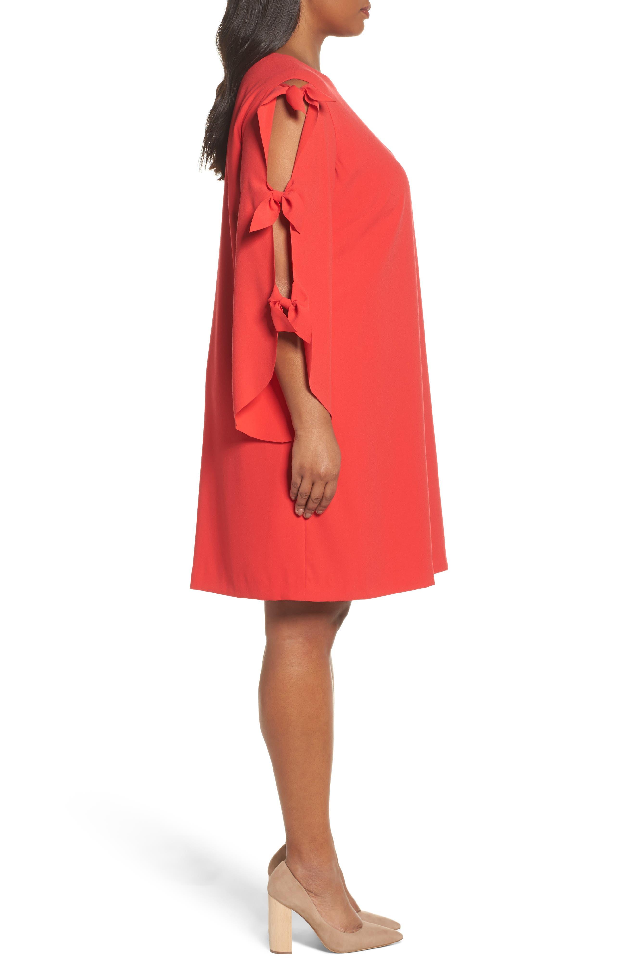 Split Tie Sleeve Shift Dress,                             Alternate thumbnail 3, color,                             Fiesta Pink