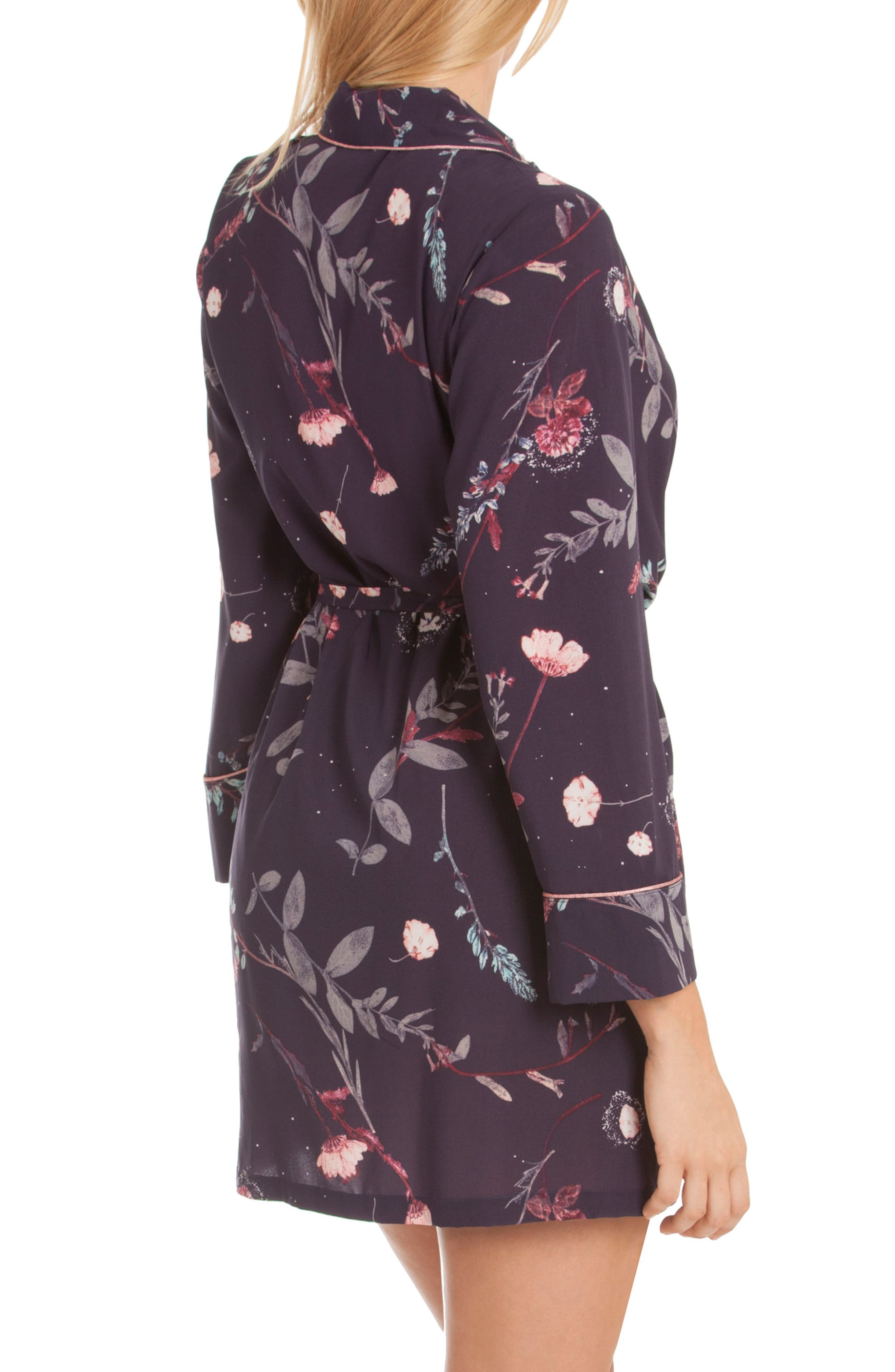 Print Short Robe,                             Alternate thumbnail 2, color,                             Meadow