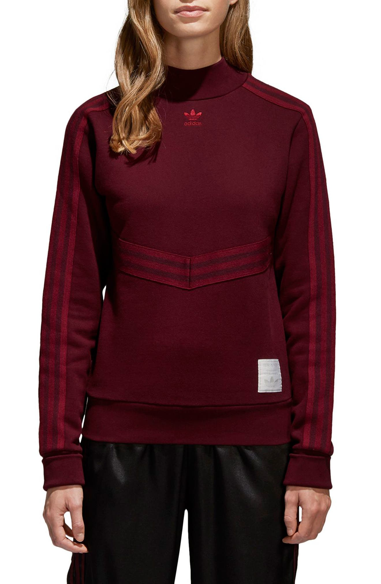 Originals Adibreak Sweatshirt,                             Main thumbnail 1, color,                             Maroon