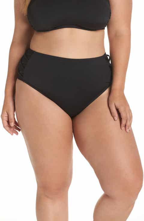 The Bikini Lab High Waist Bikini Bottoms (Plus Size)