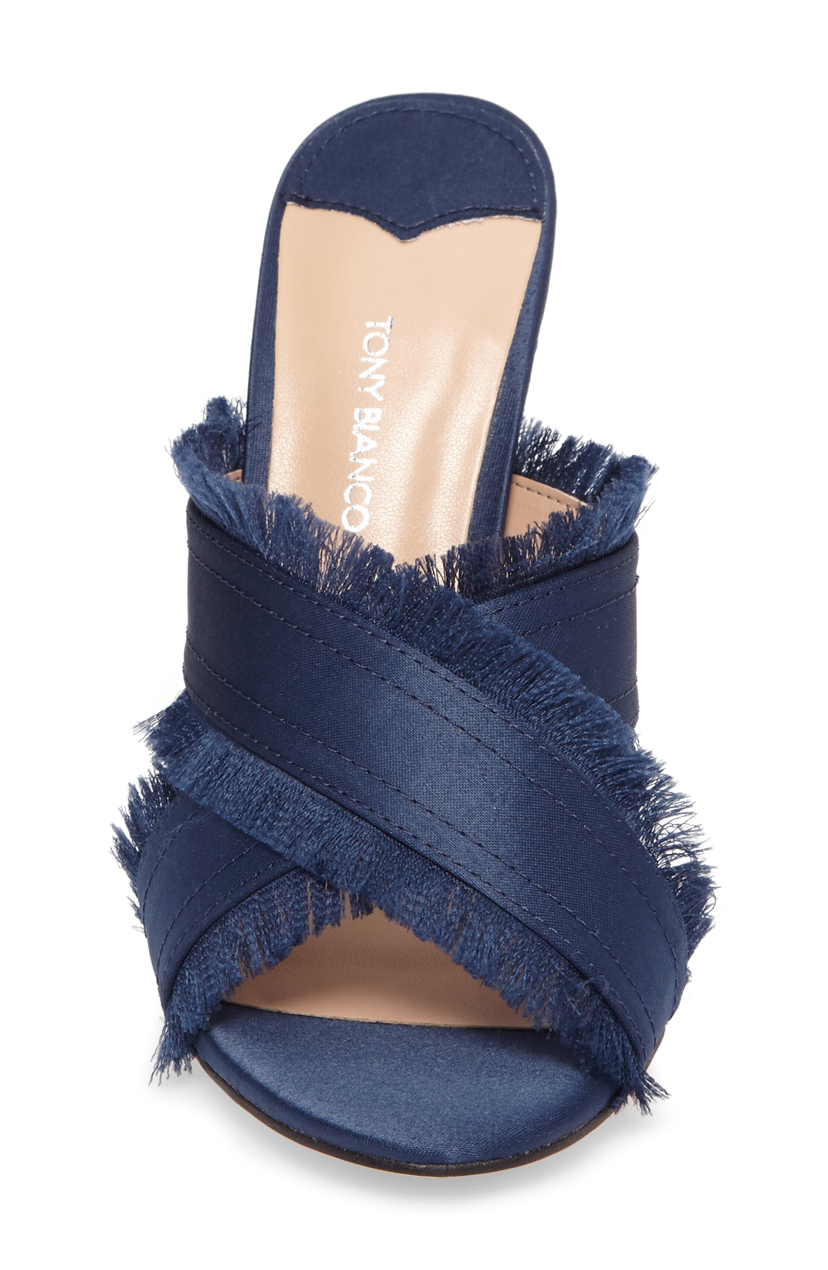 Klay Fringed Cross Strap Mule,                             Alternate thumbnail 4, color,                             Navy Luxe Satin