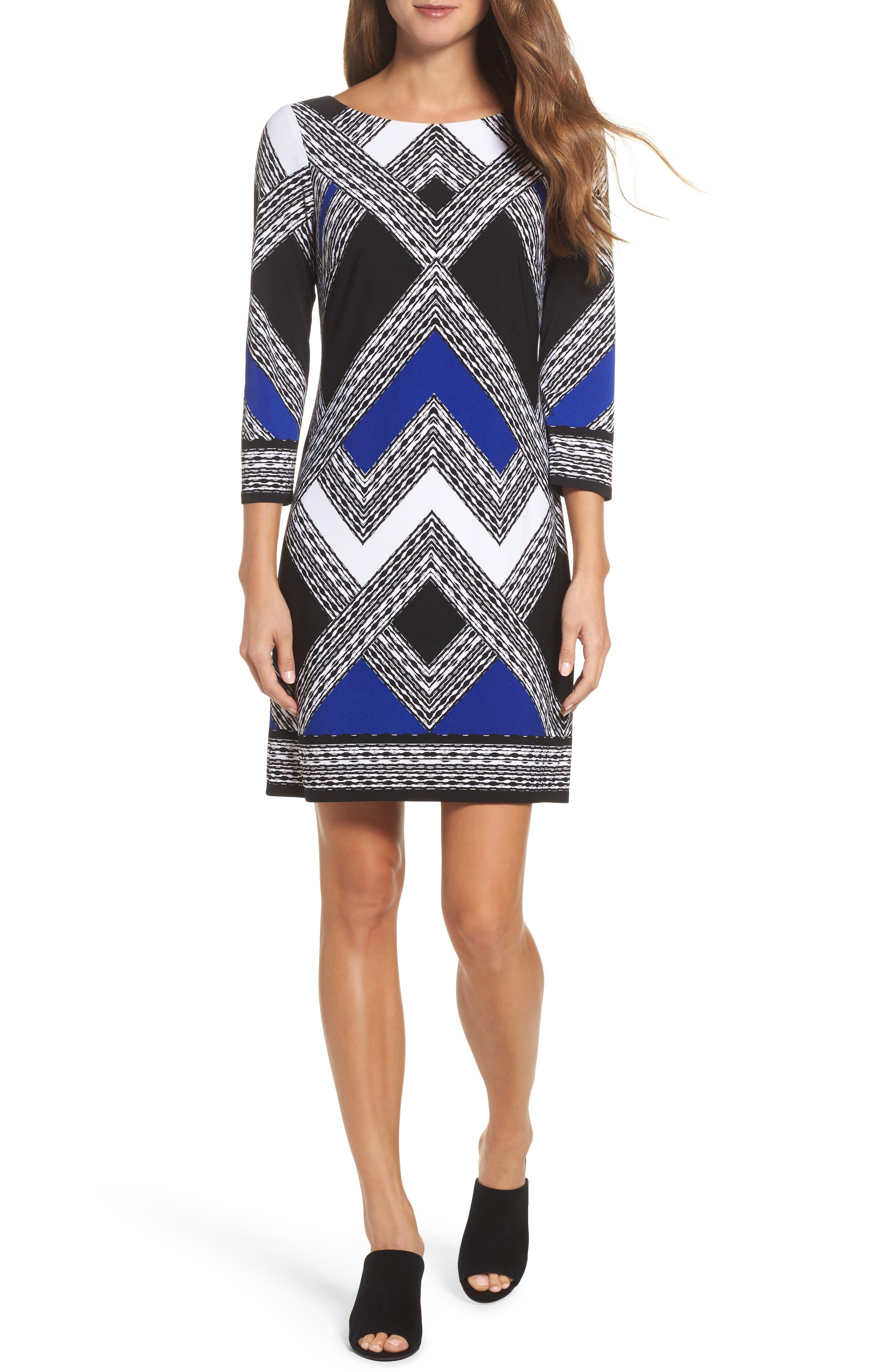 Crepe Shift Dress,                         Main,                         color, Black/ Blue