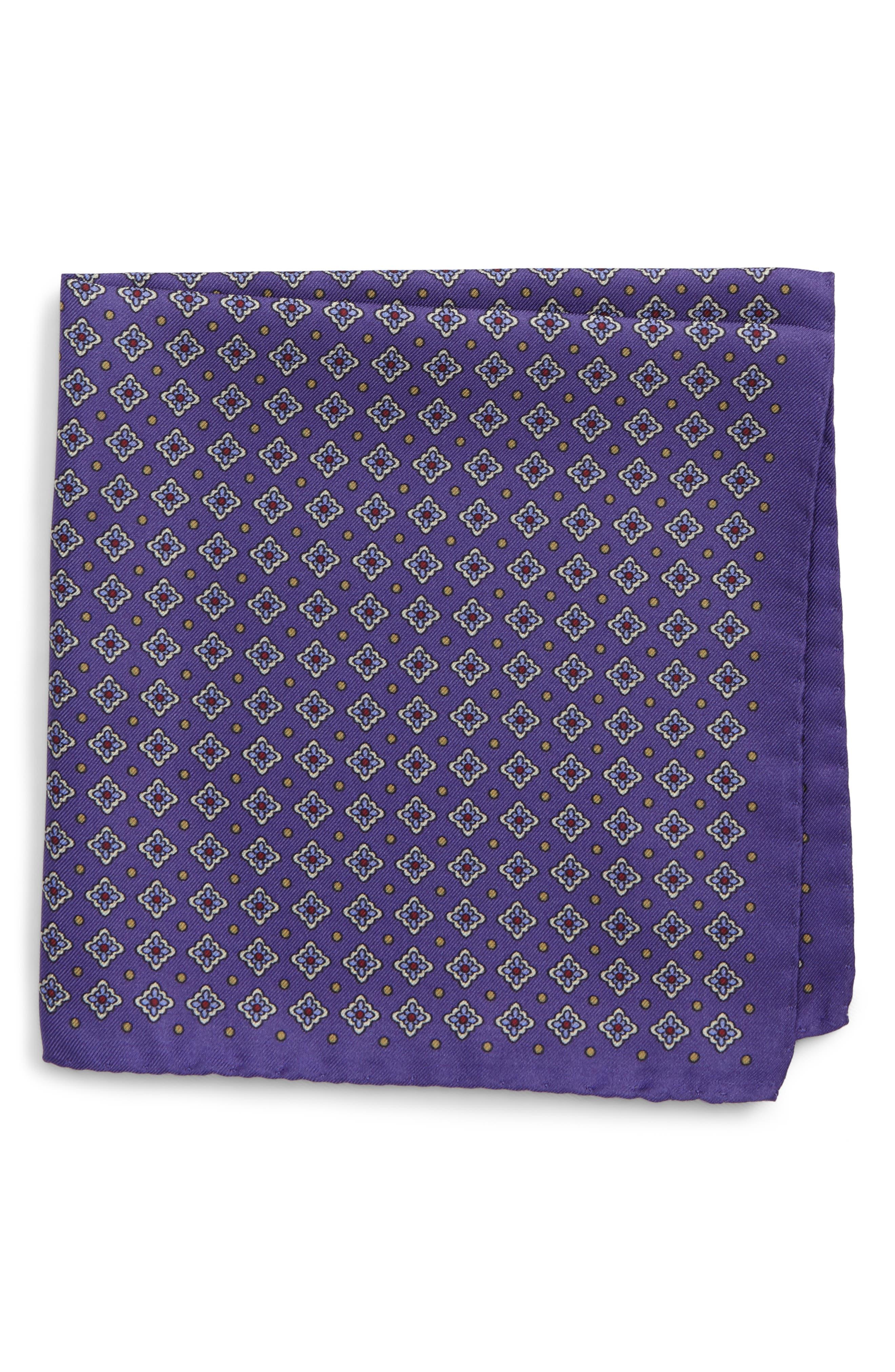 Medallion Silk Pocket Square,                             Main thumbnail 1, color,                             Purple