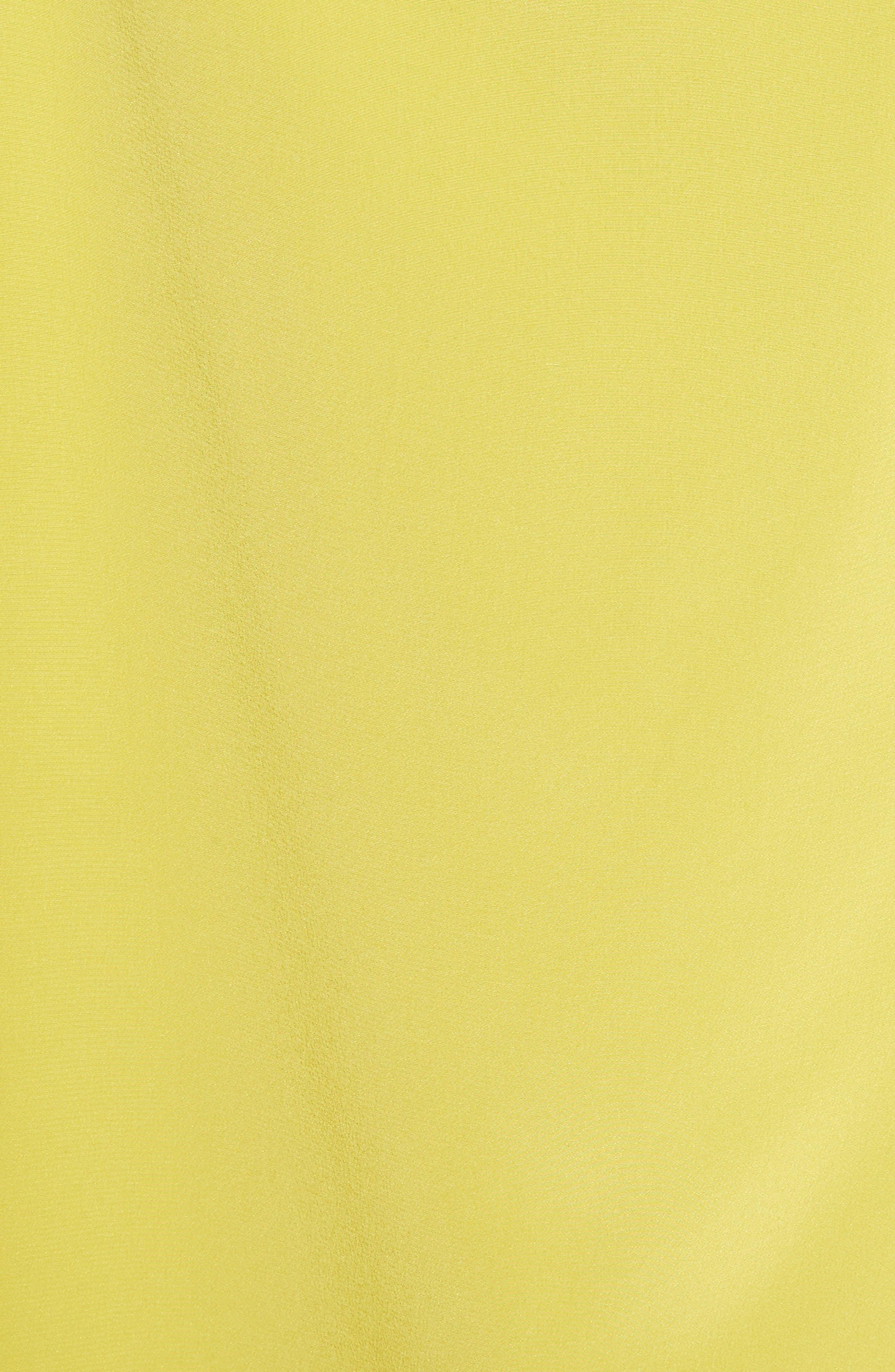 Strappy Back Silk Dress,                             Alternate thumbnail 5, color,                             Vibrant Yellow