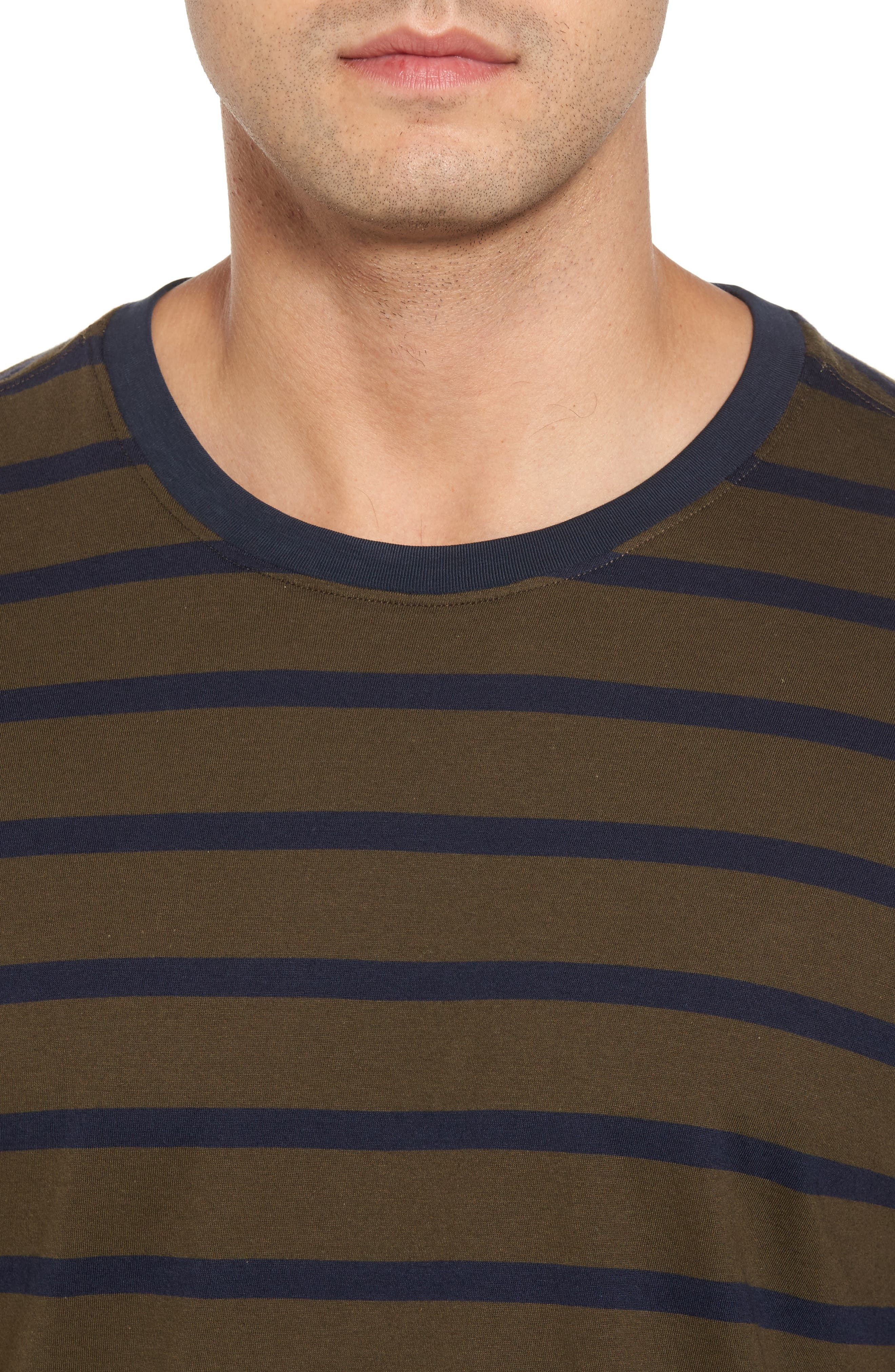 Peruvian Pima Cotton Stripe T-Shirt,                             Alternate thumbnail 4, color,                             Army/ Midnight Stripe