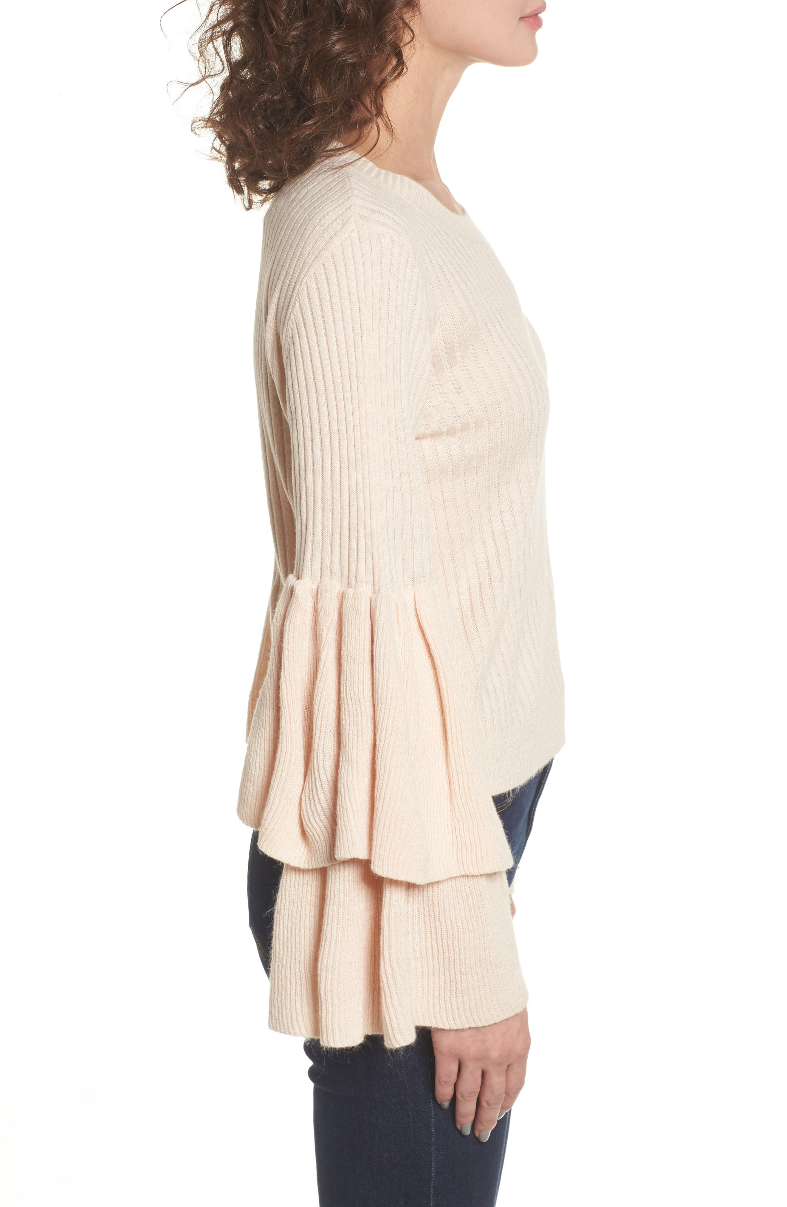 Tiara Bell Sleeve Sweater,                             Alternate thumbnail 3, color,                             Blush