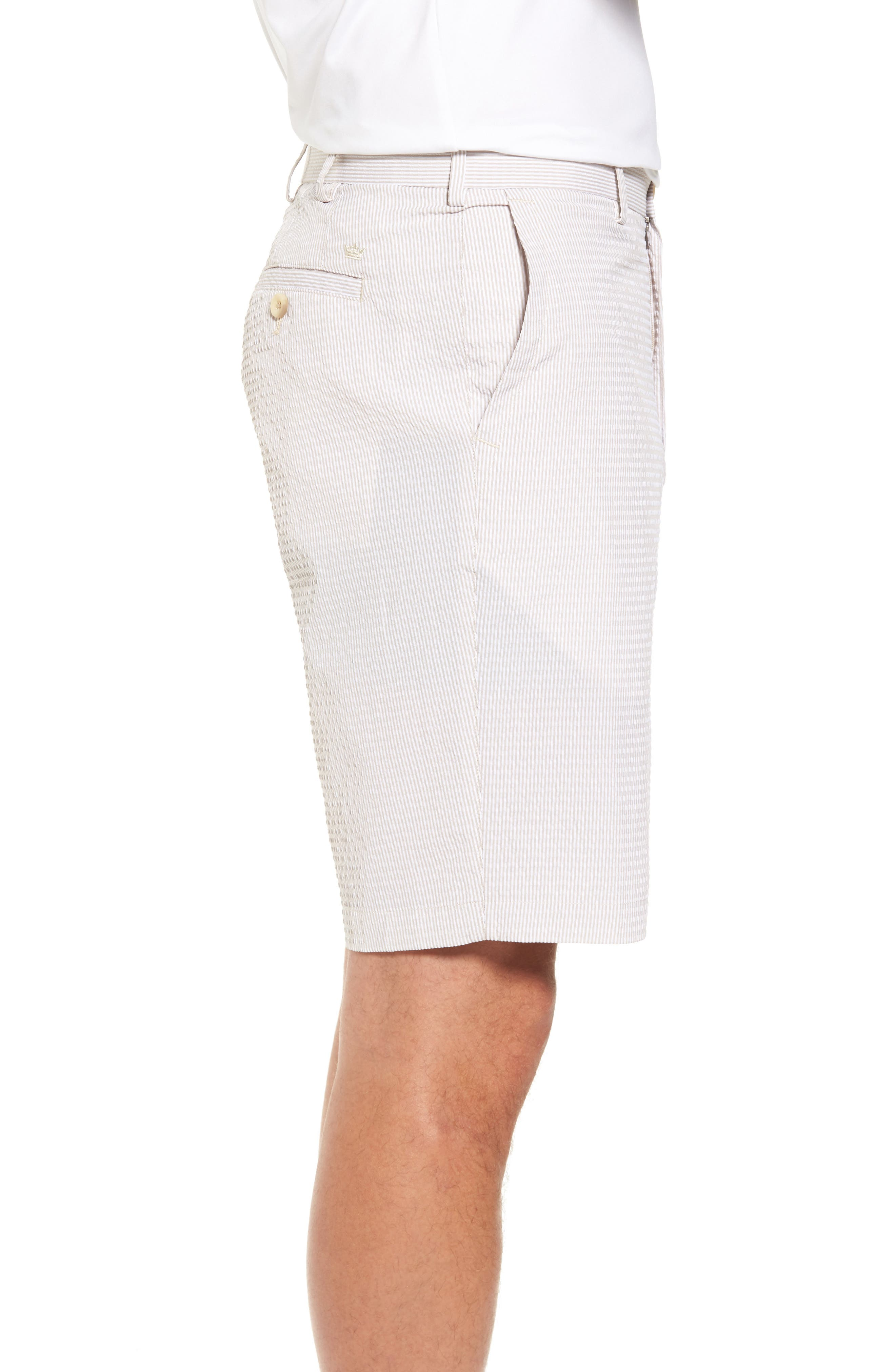 Apex Pinstripe Seersucker Shorts,                             Alternate thumbnail 3, color,                             Khaki
