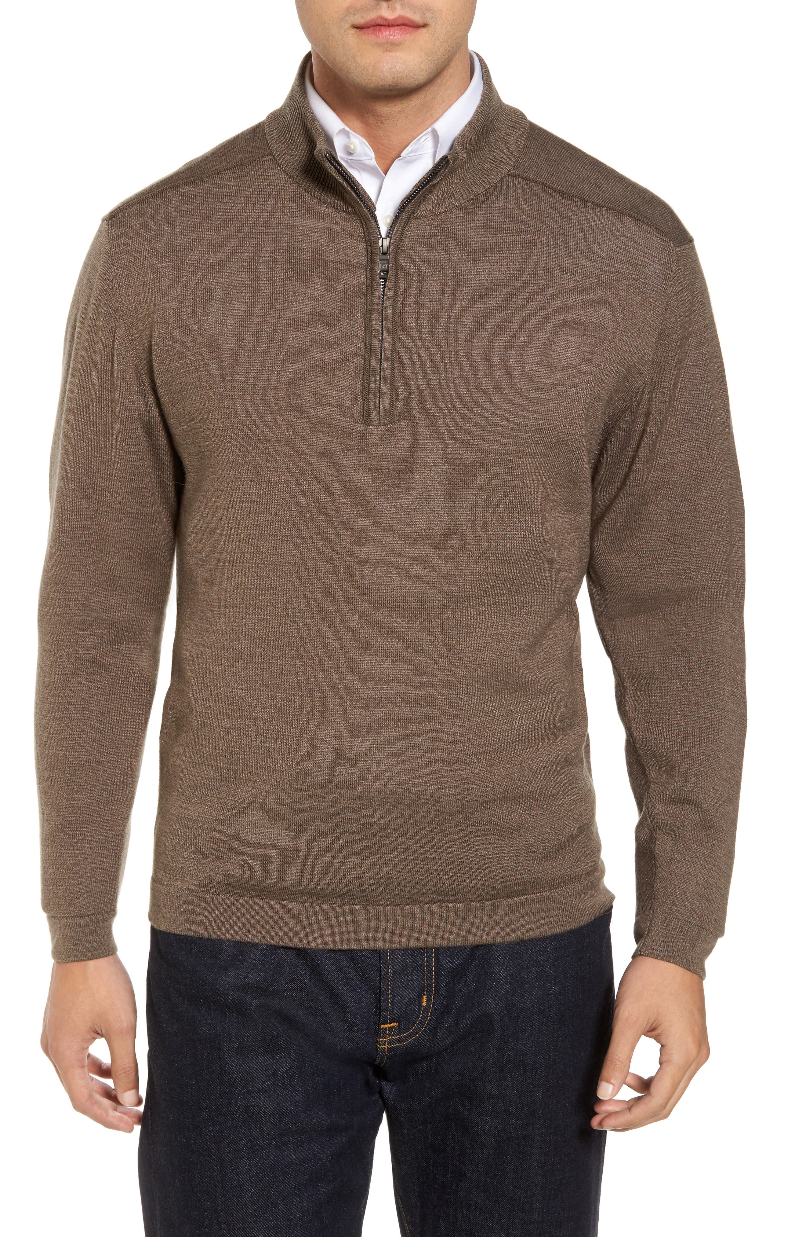 Henry Quarter-Zip Pullover Sweater,                             Main thumbnail 1, color,                             Twig