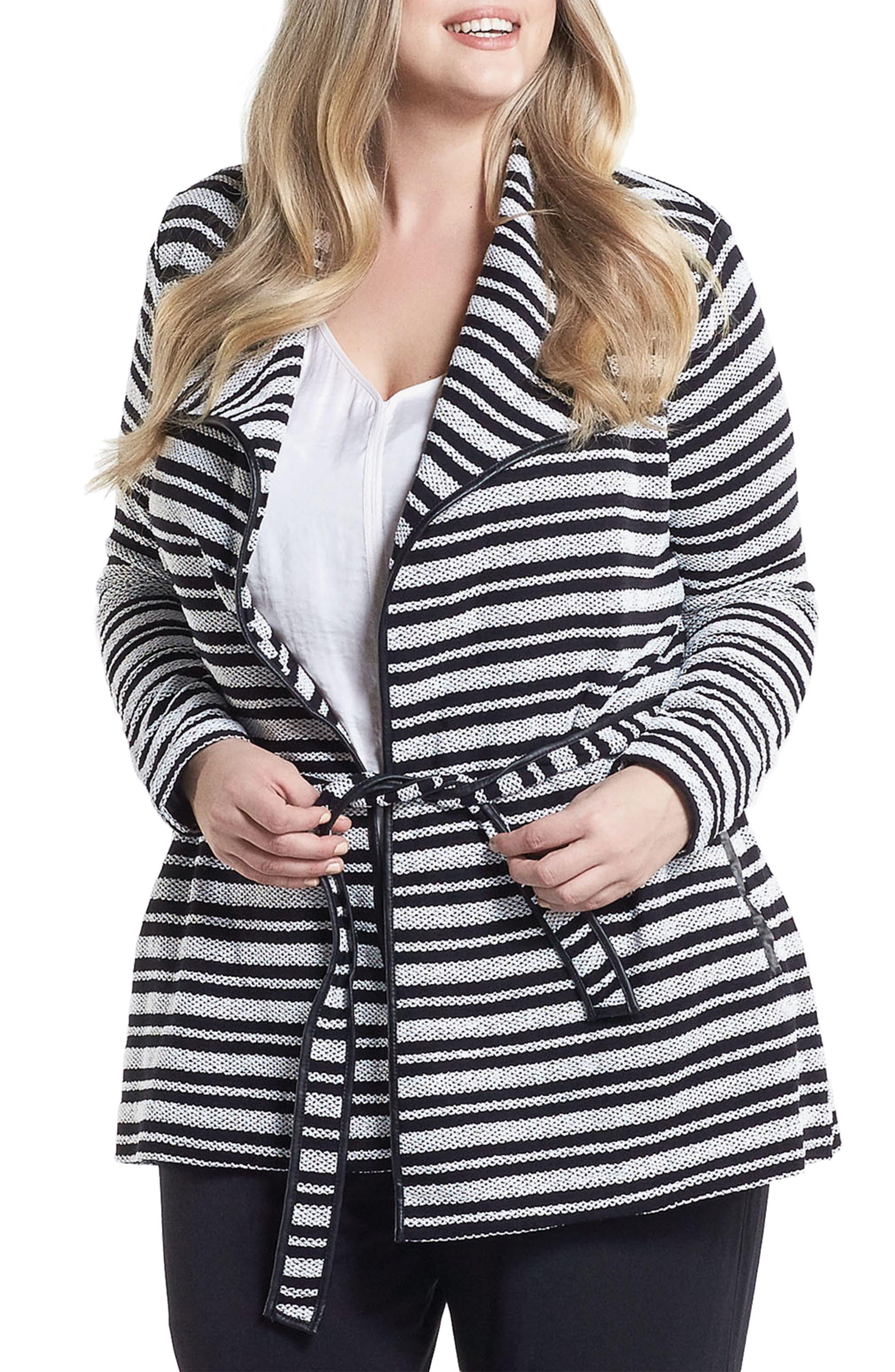 Xena Belted Stripe Knit Jacket,                             Main thumbnail 1, color,                             Black/ White Stripe
