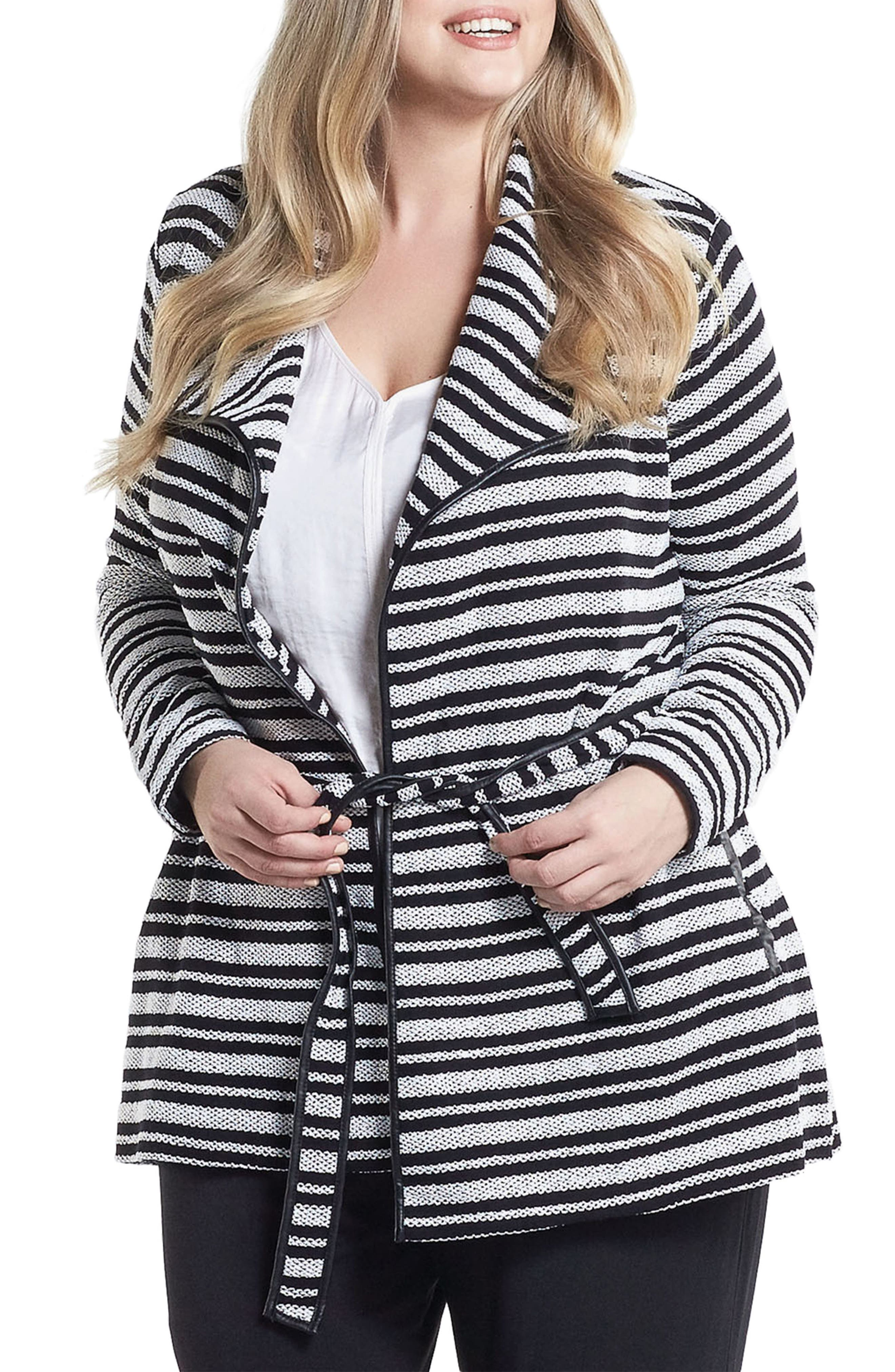 Xena Belted Stripe Knit Jacket,                         Main,                         color, Black/ White Stripe
