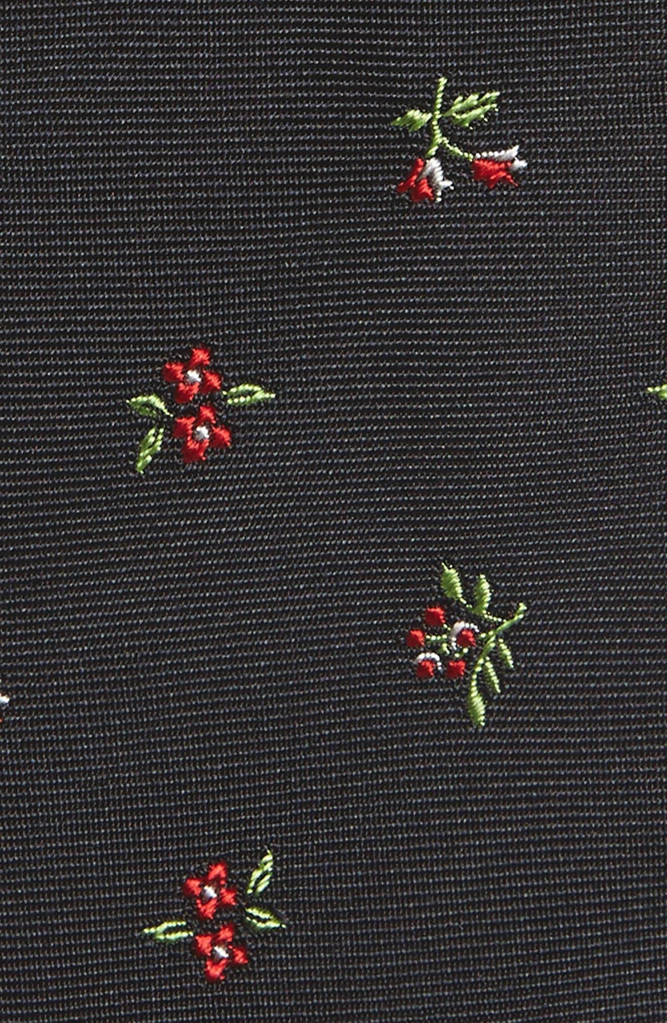 Floral Silk Skinny Tie,                             Alternate thumbnail 2, color,                             Black