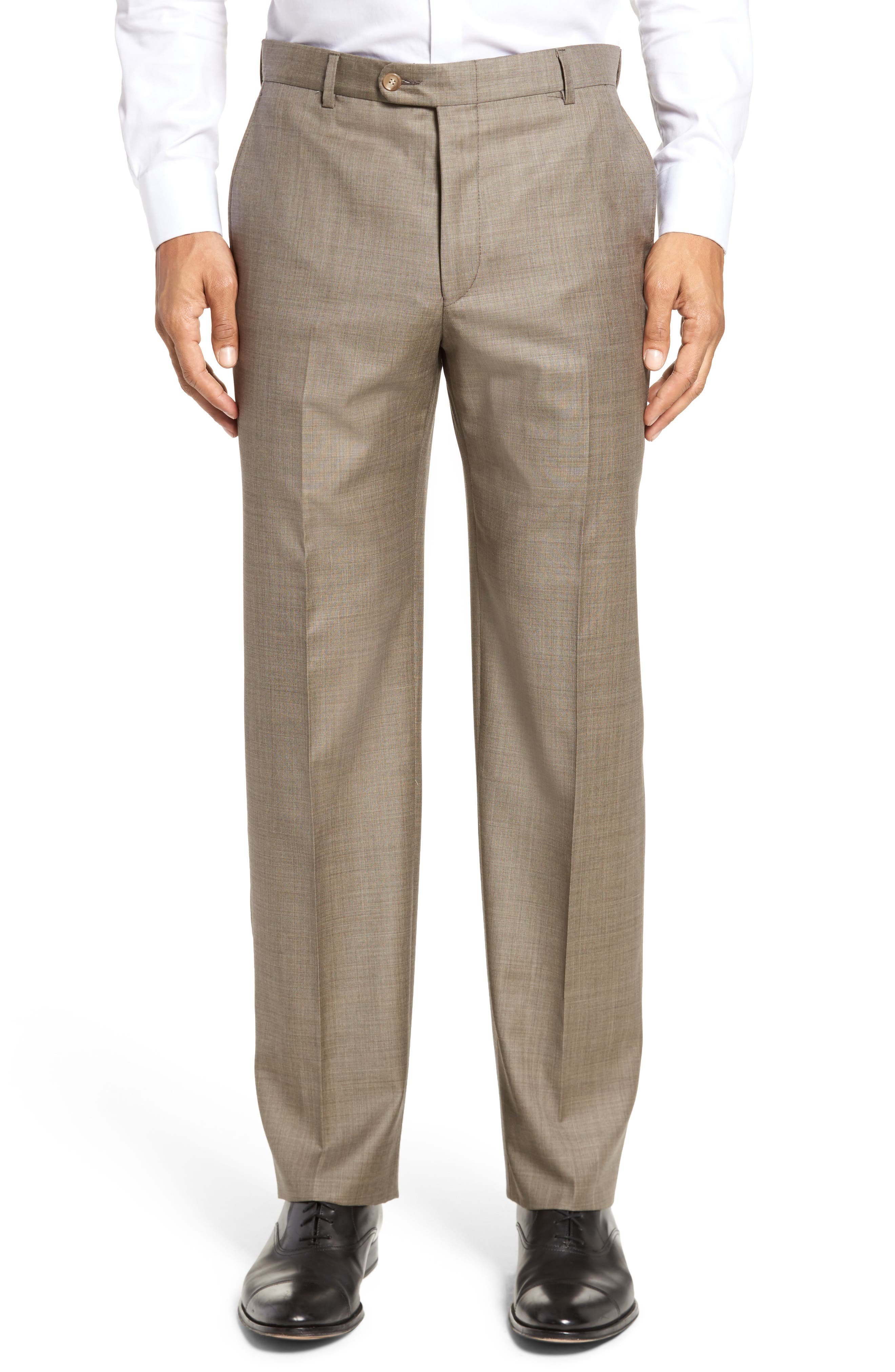 Classic B Fit Flat Front Solid Wool Trousers,                         Main,                         color, Tan Sharkskin