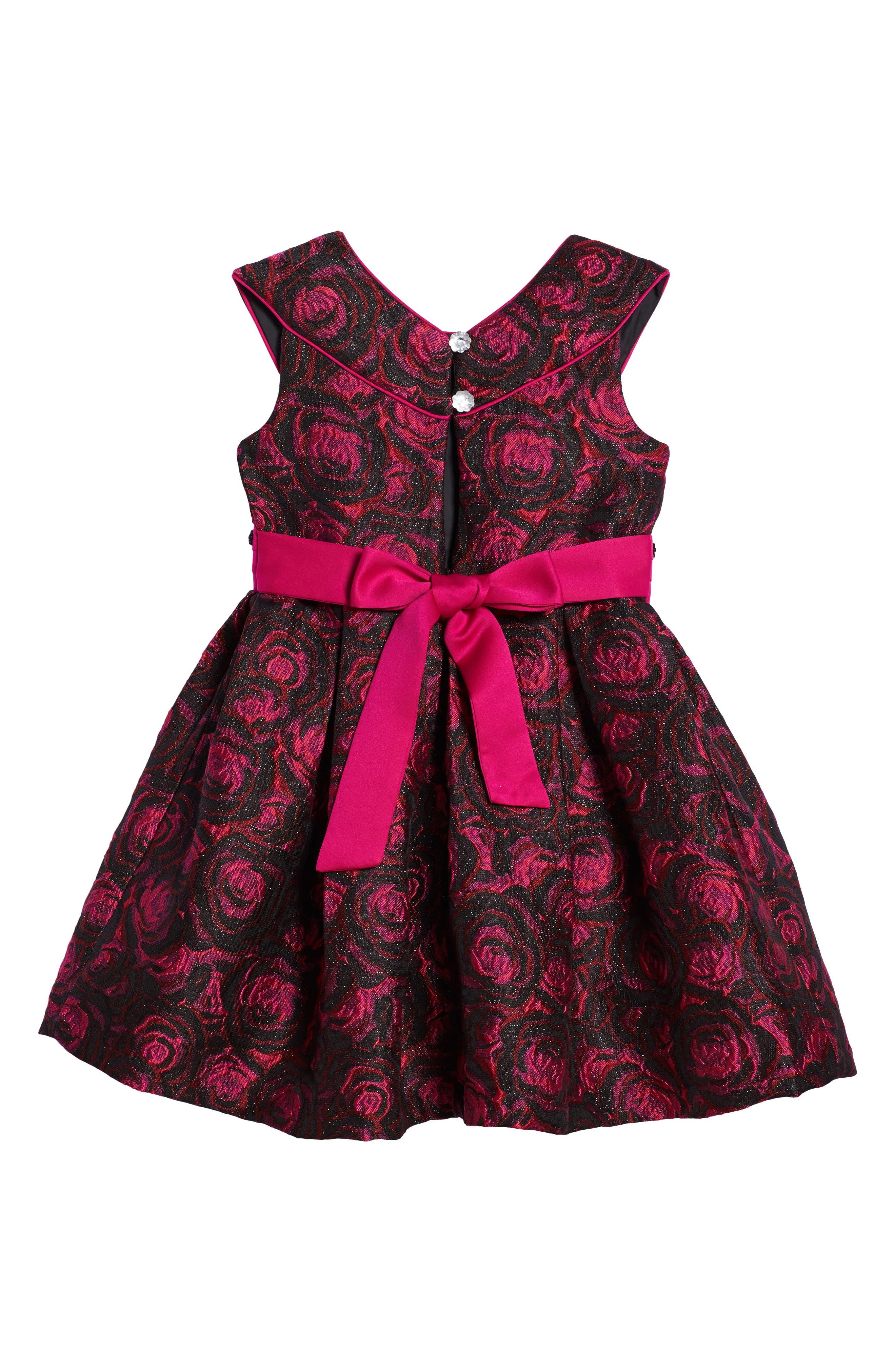 Floral Jacquard Dress,                             Alternate thumbnail 2, color,                             Fuschia