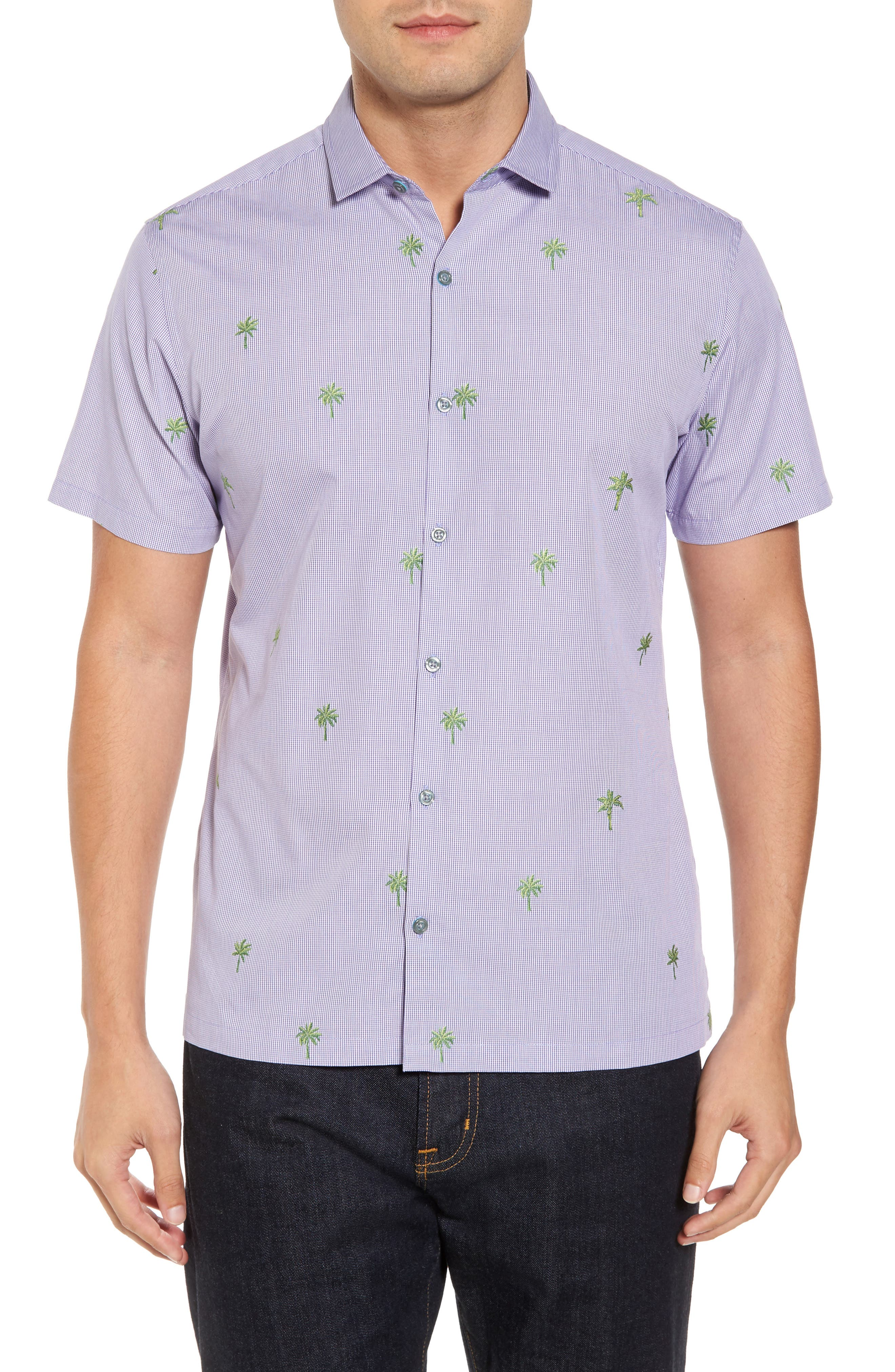 Palm2Palm Trim Fit Embroidered Sport Shirt,                         Main,                         color, Iris