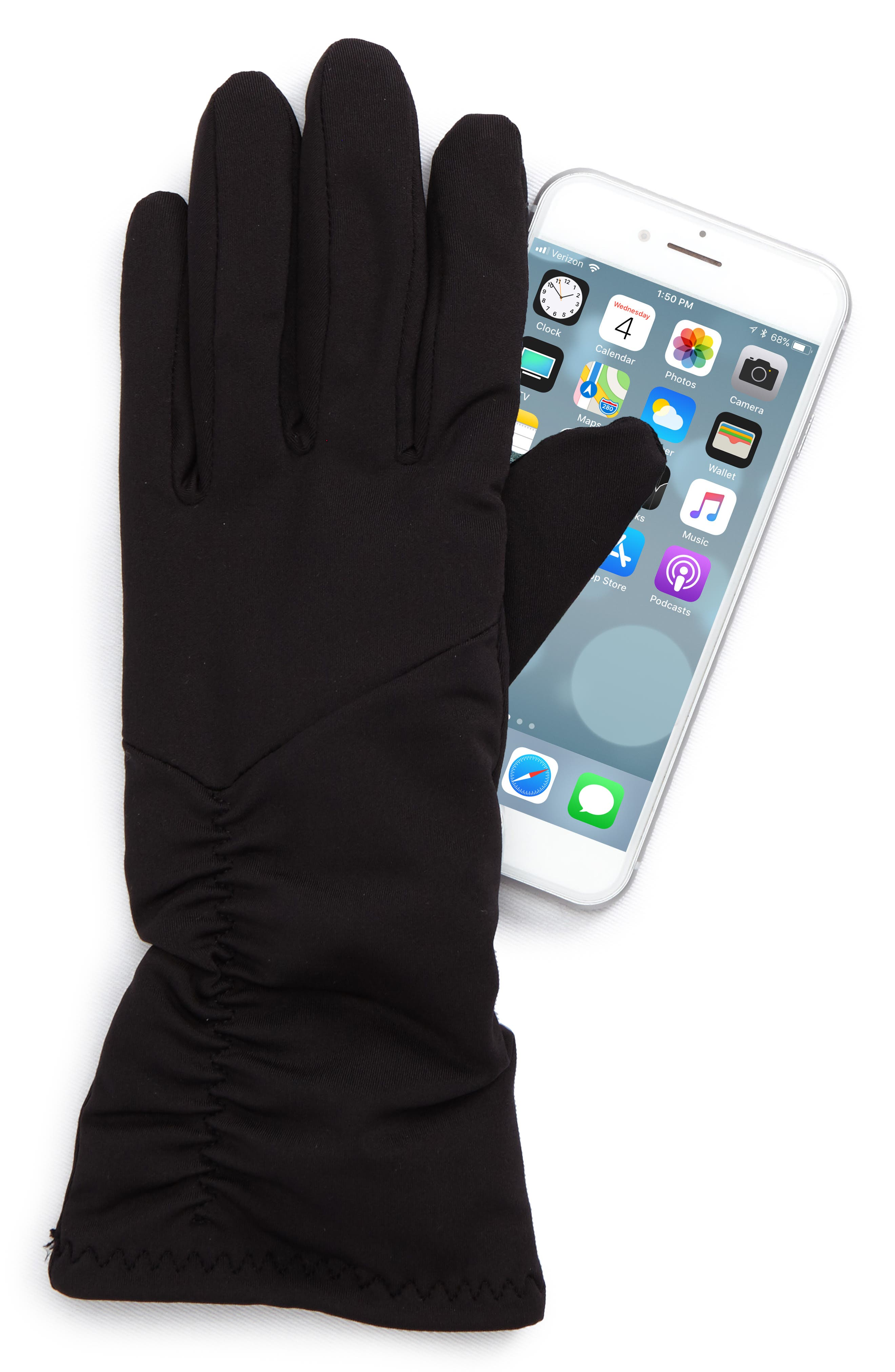 Ruched Stretch Tech Gloves,                             Alternate thumbnail 2, color,                             Black