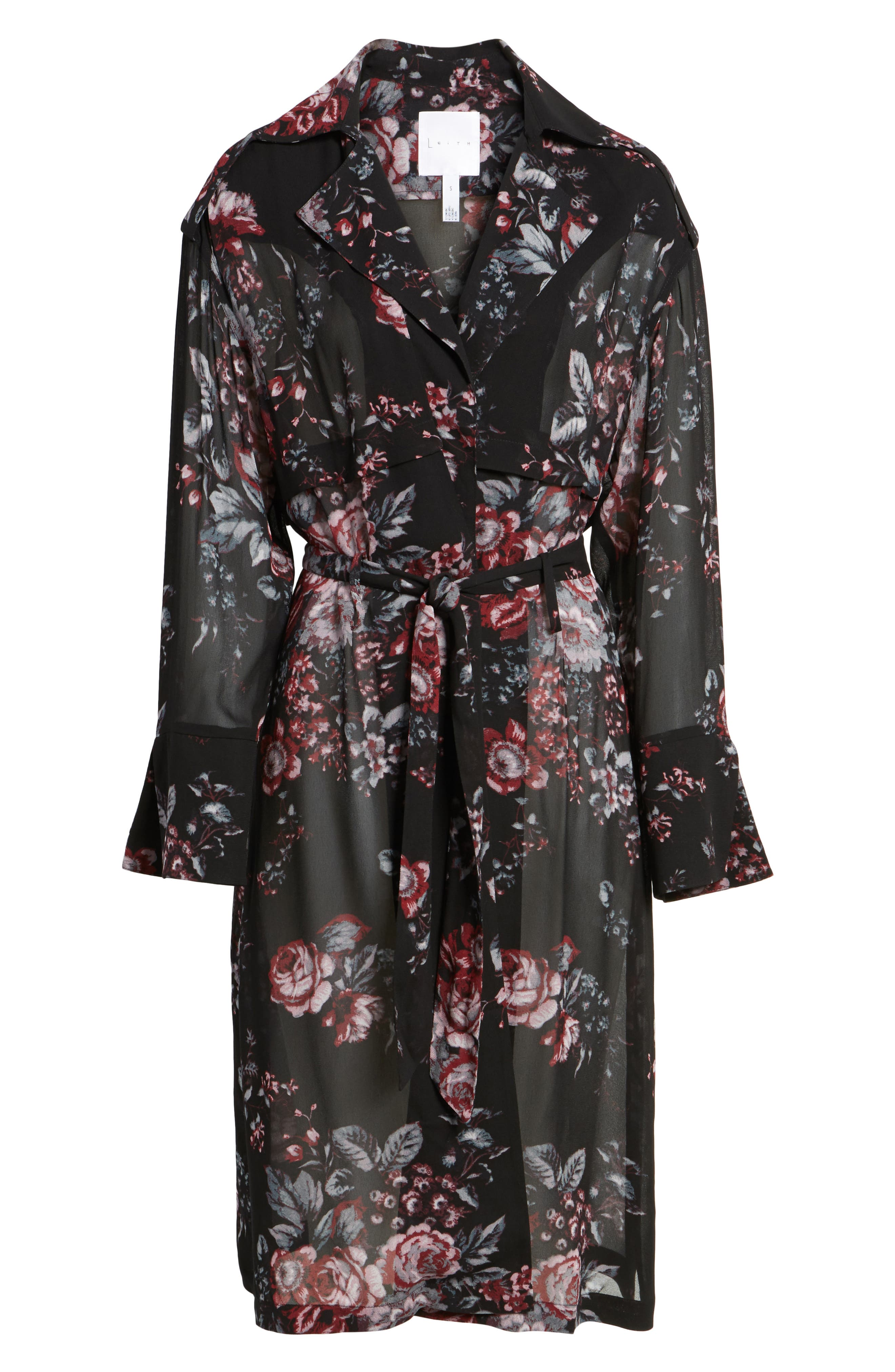 Floral Trench Coat,                             Alternate thumbnail 6, color,                             Black Photo Real Floral