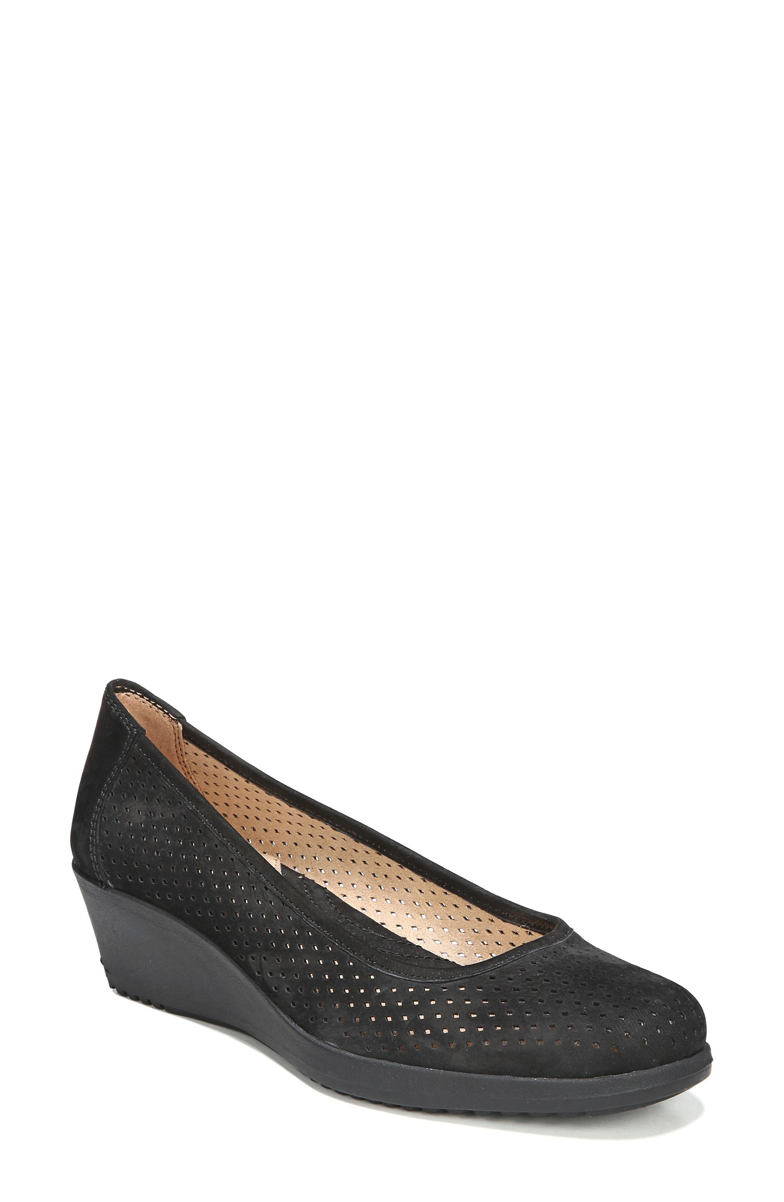 Betina II Wedge,                         Main,                         color, Black Leather