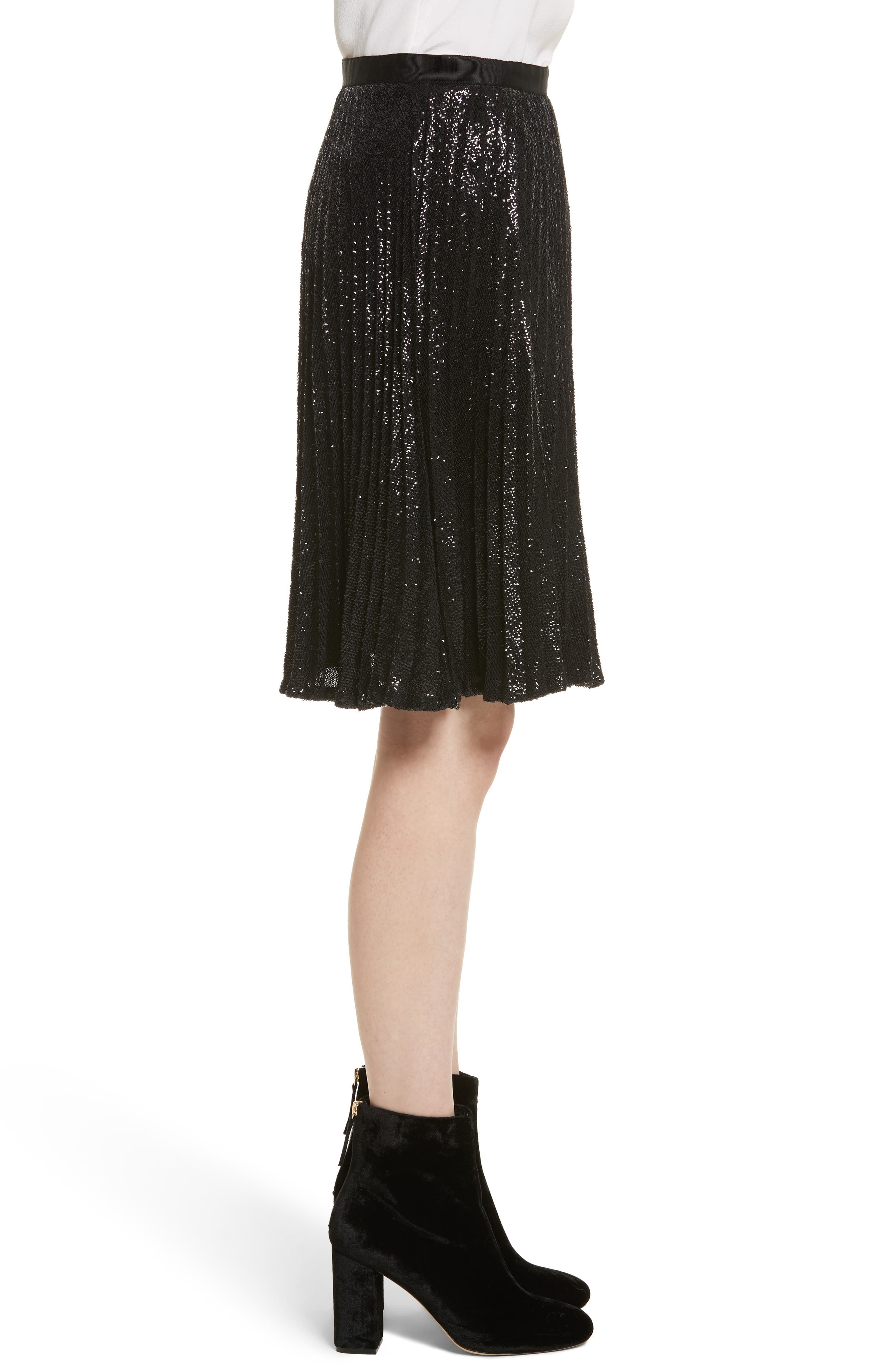 Jadian Metallic Pleat Skirt,                             Alternate thumbnail 3, color,                             Caviar