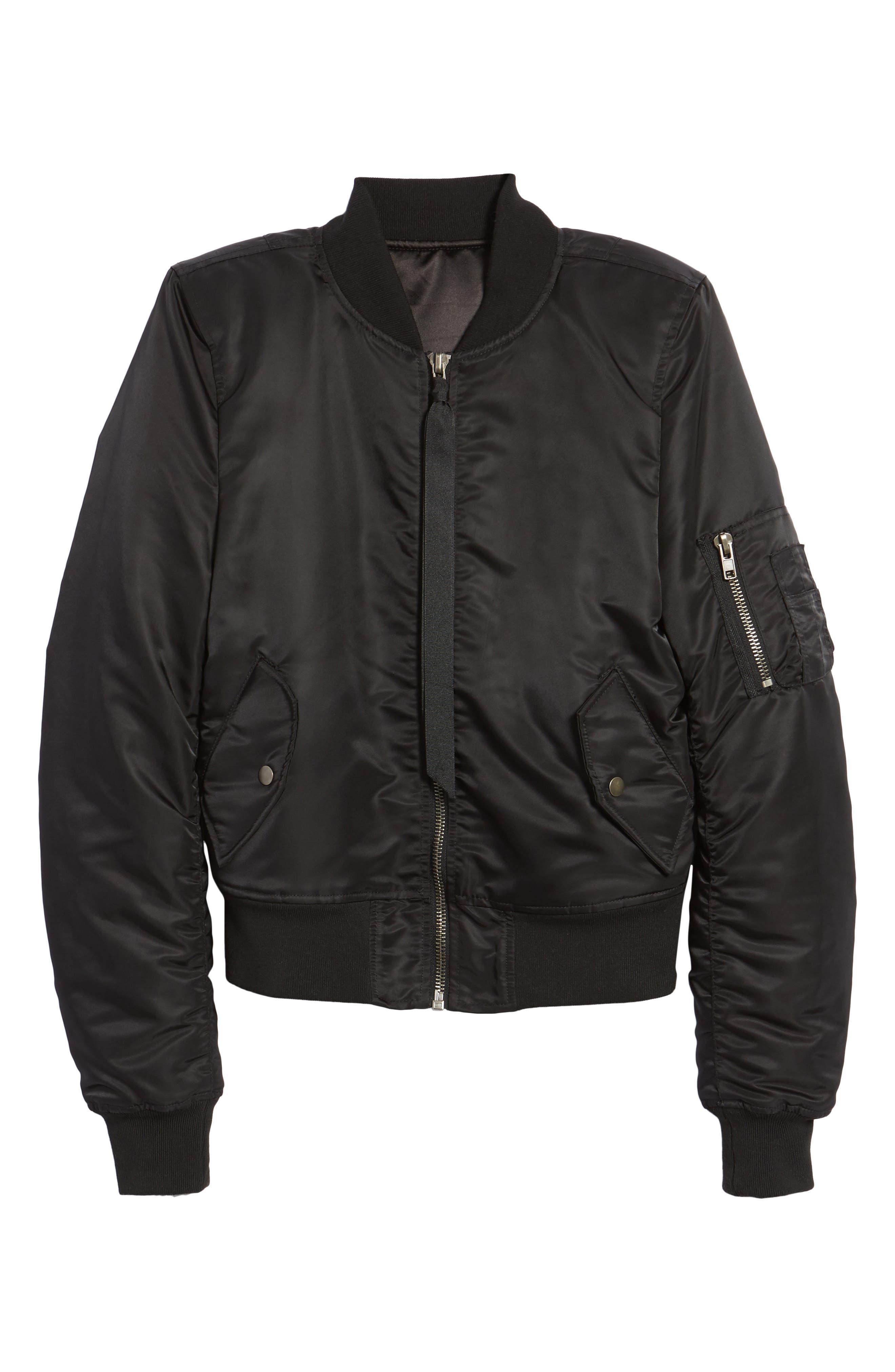 Bomber Jacket,                             Alternate thumbnail 6, color,                             Noir