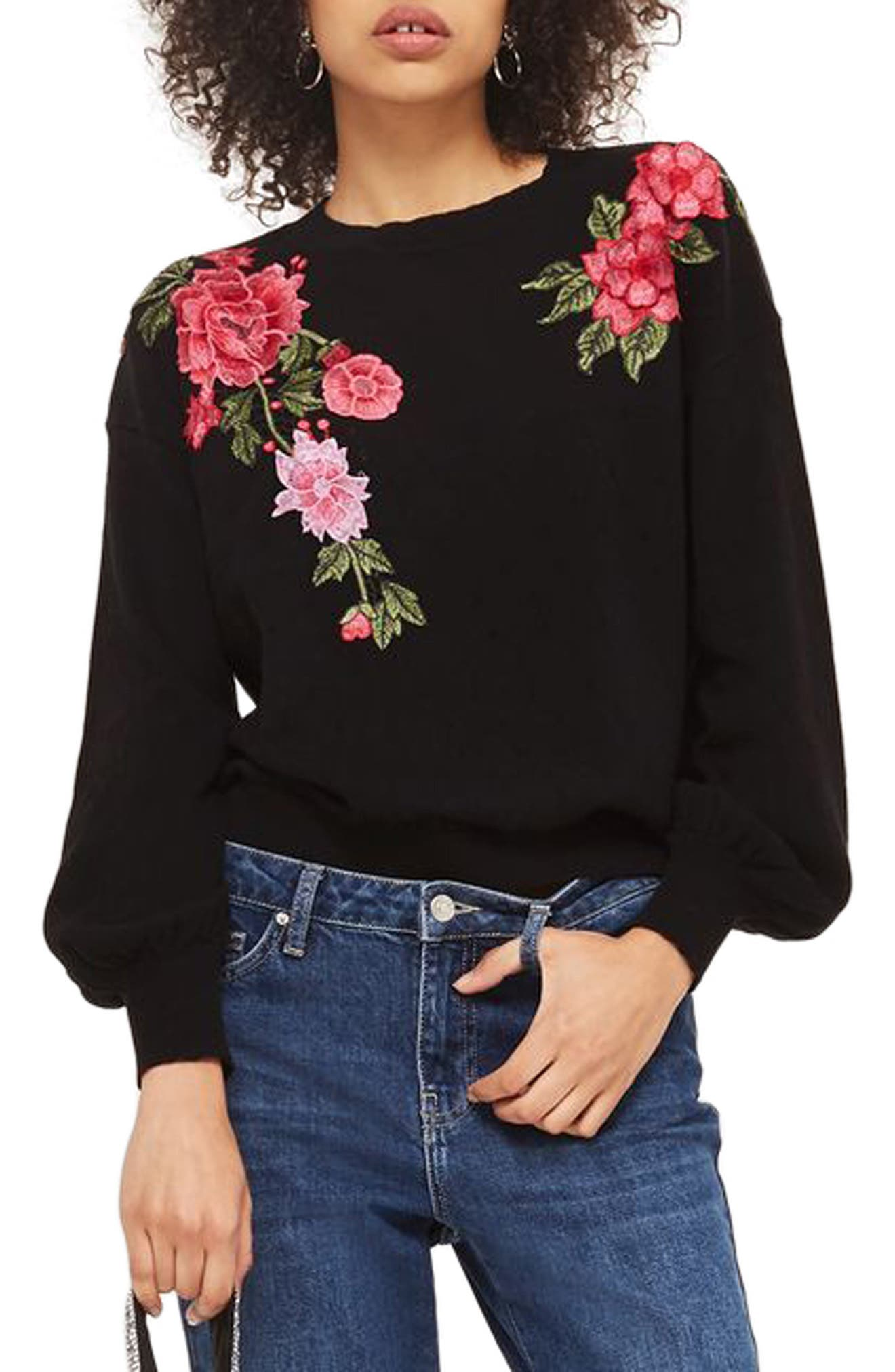 Topshop Stitchy Embroidered Sweater