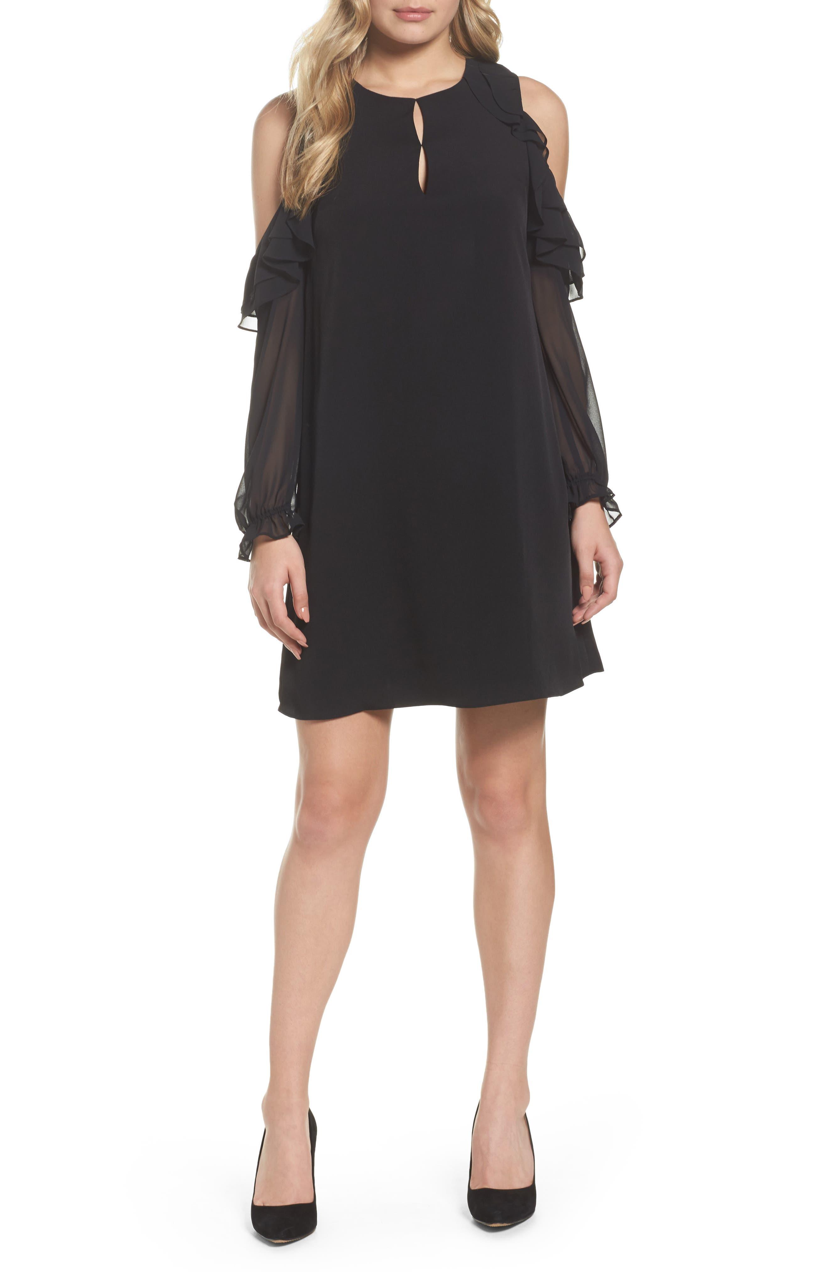 Isabella Cold Shoulder Shift Dress,                             Main thumbnail 1, color,                             Rich Black