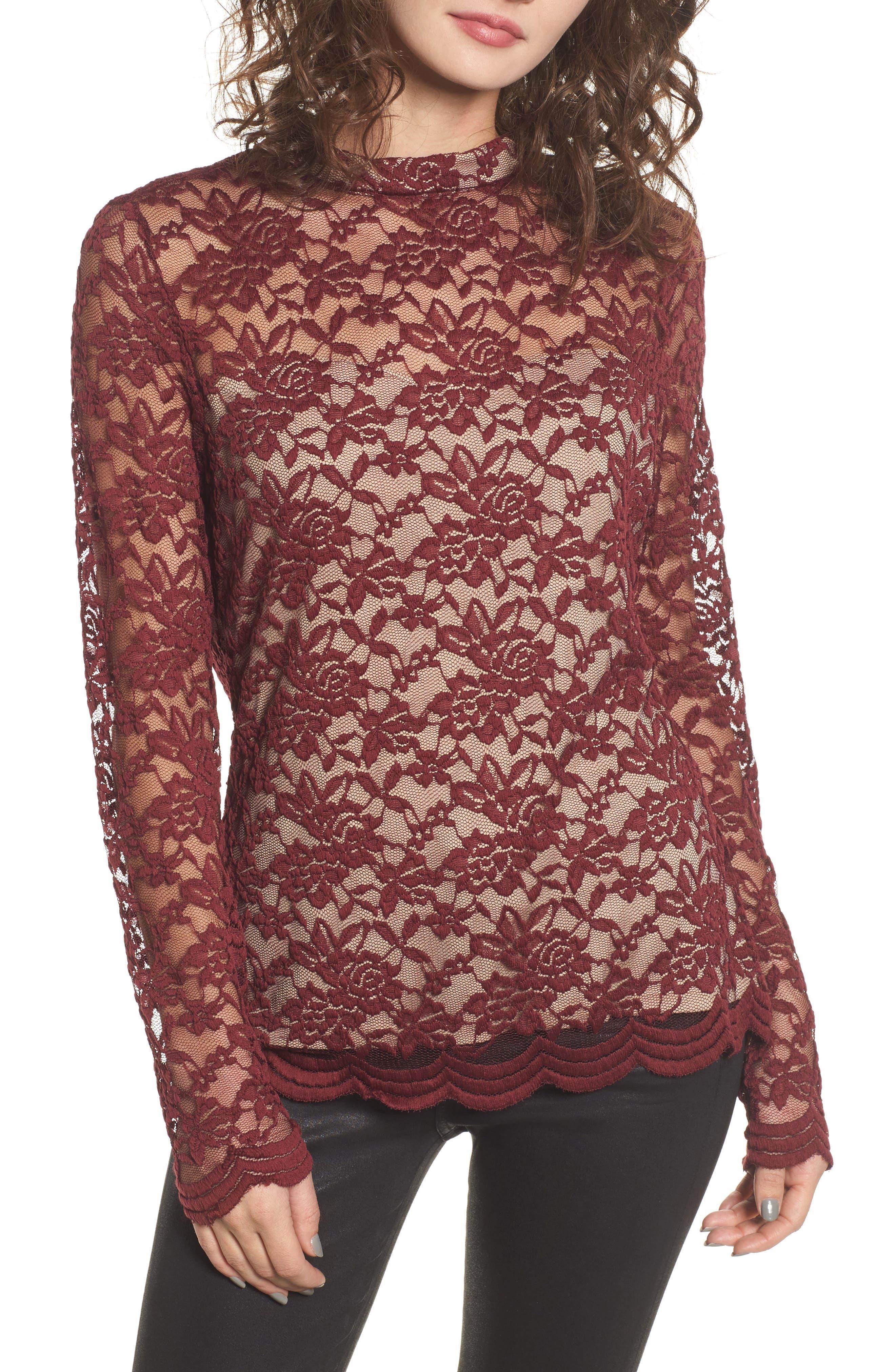 Mock Neck Lace Top,                         Main,                         color, Zinfandel