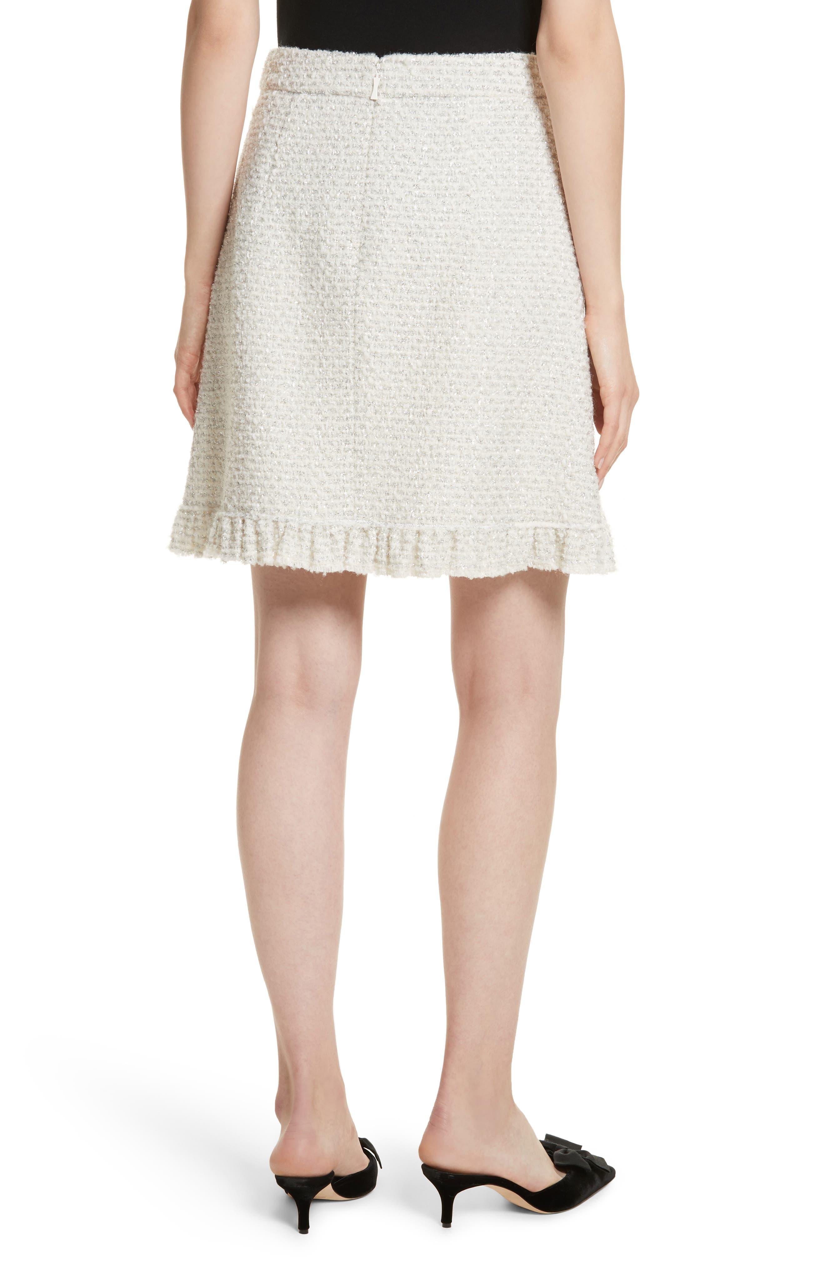 sparkle tweed skirt,                             Alternate thumbnail 2, color,                             Cream