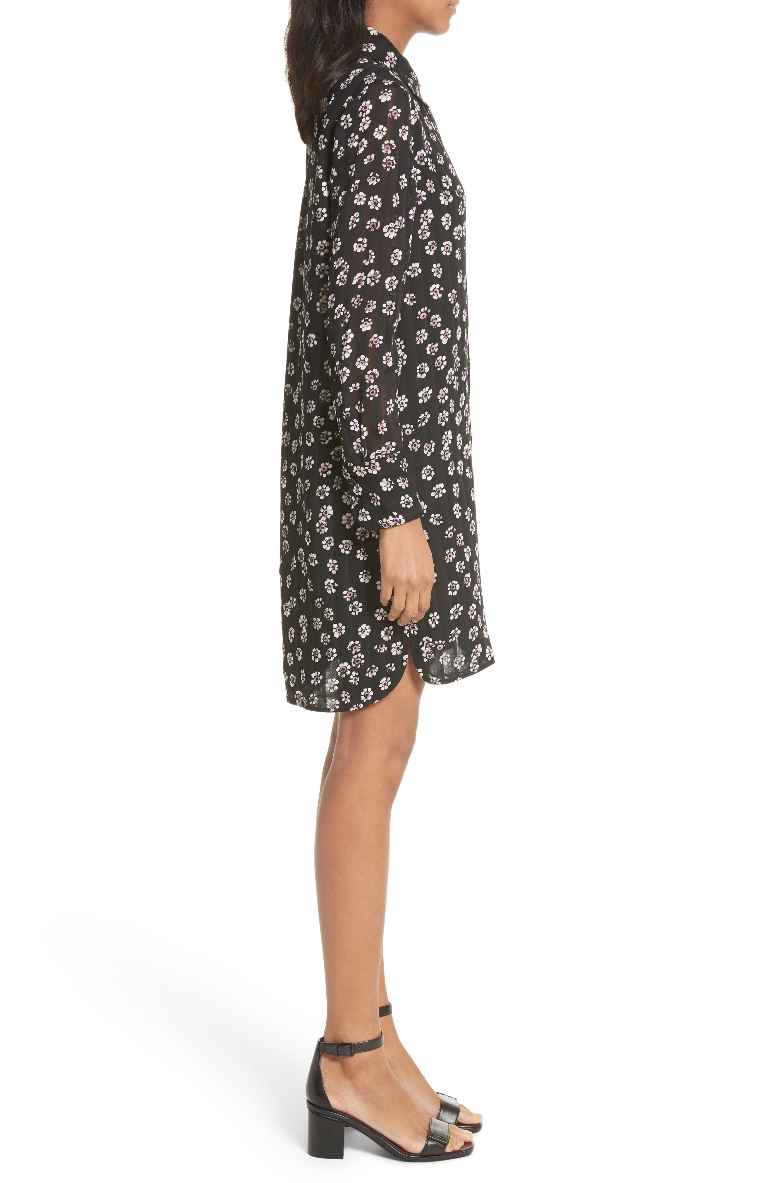 Avery Floral Silk Shirtdress,                             Alternate thumbnail 3, color,                             Black Stamped Floral