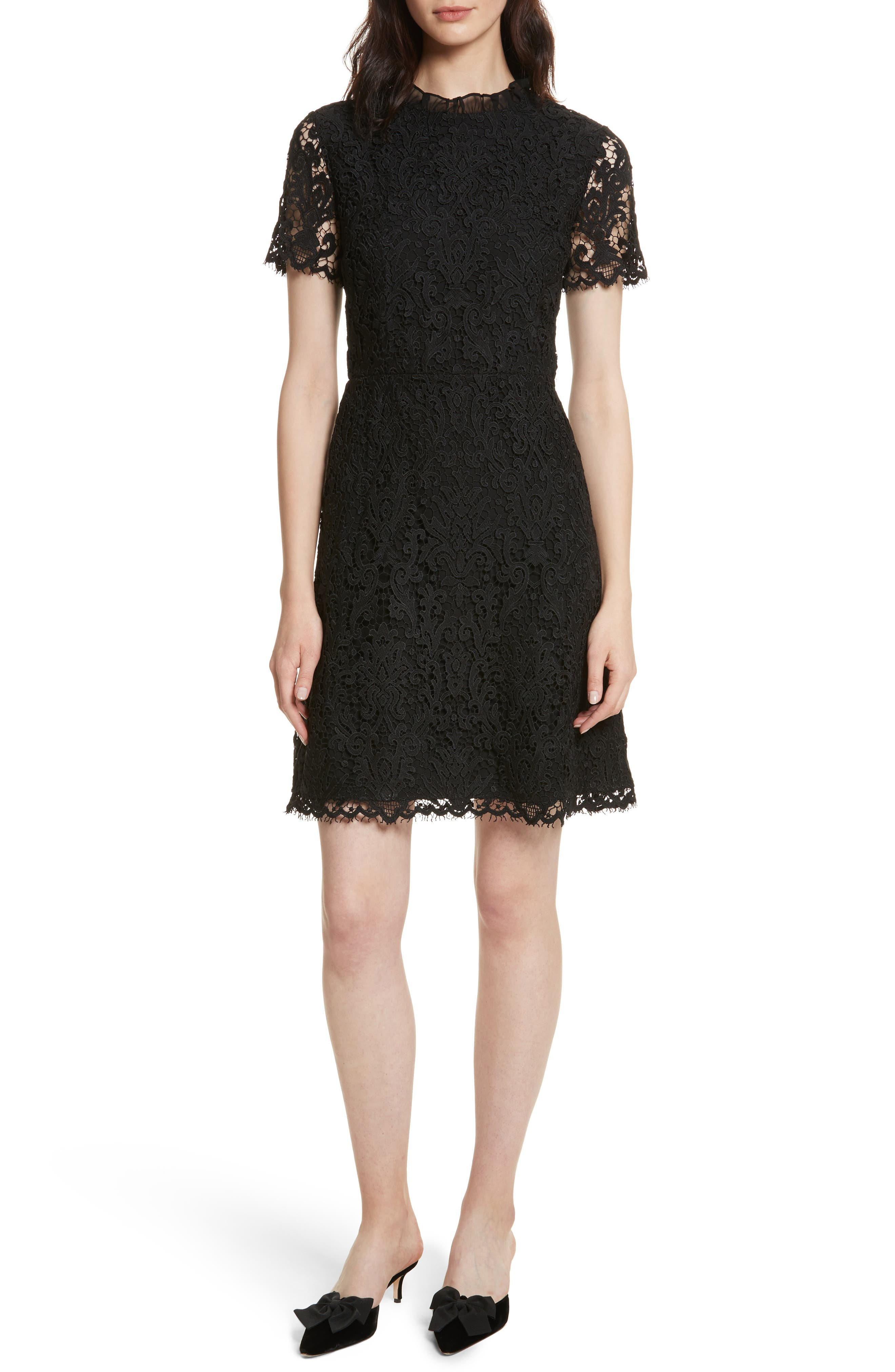 tapestry lace dress,                         Main,                         color, Black