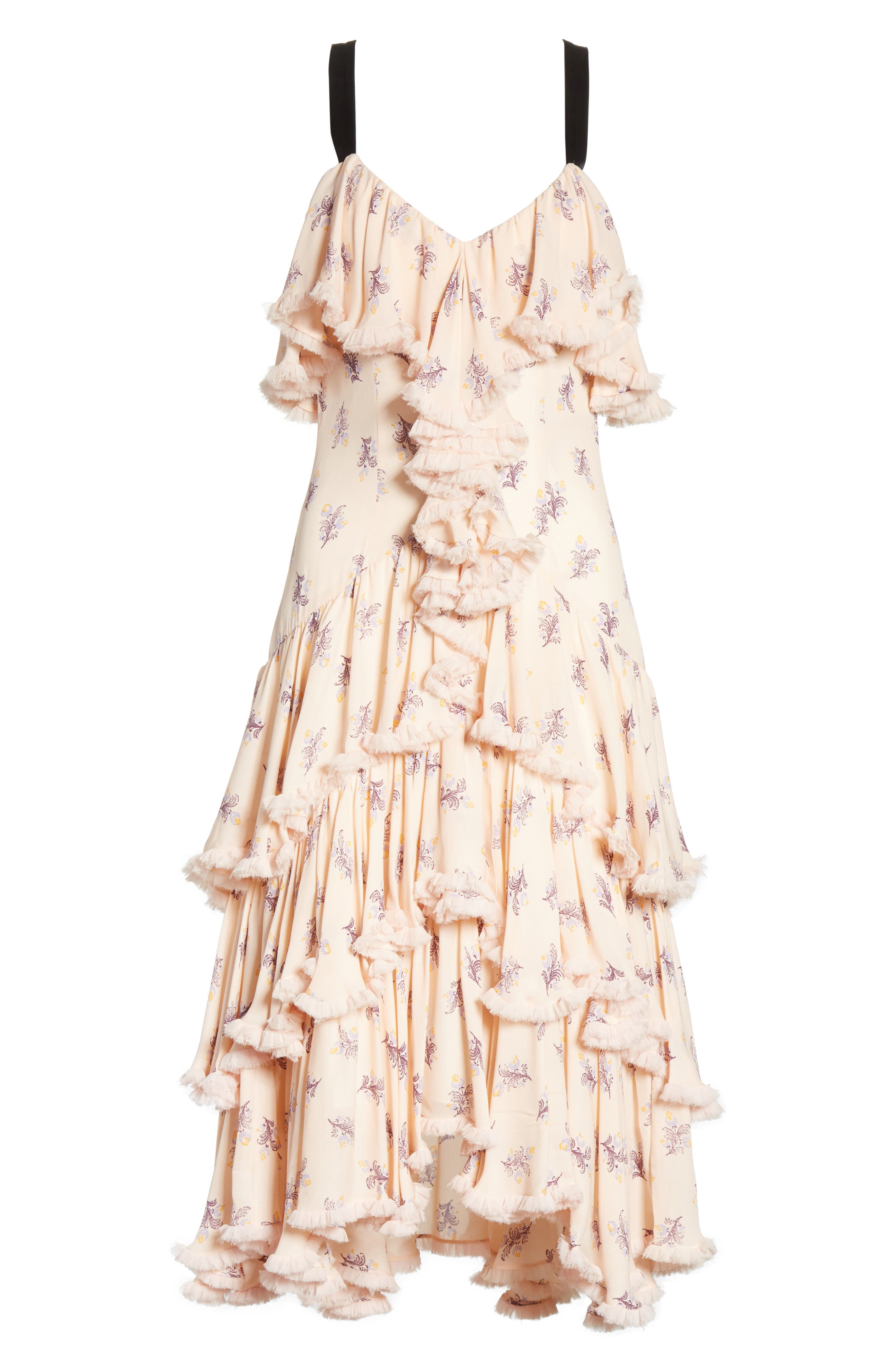 Edie Floral Print Tiered Silk Dress,                             Alternate thumbnail 6, color,                             Pearl Blush Multi