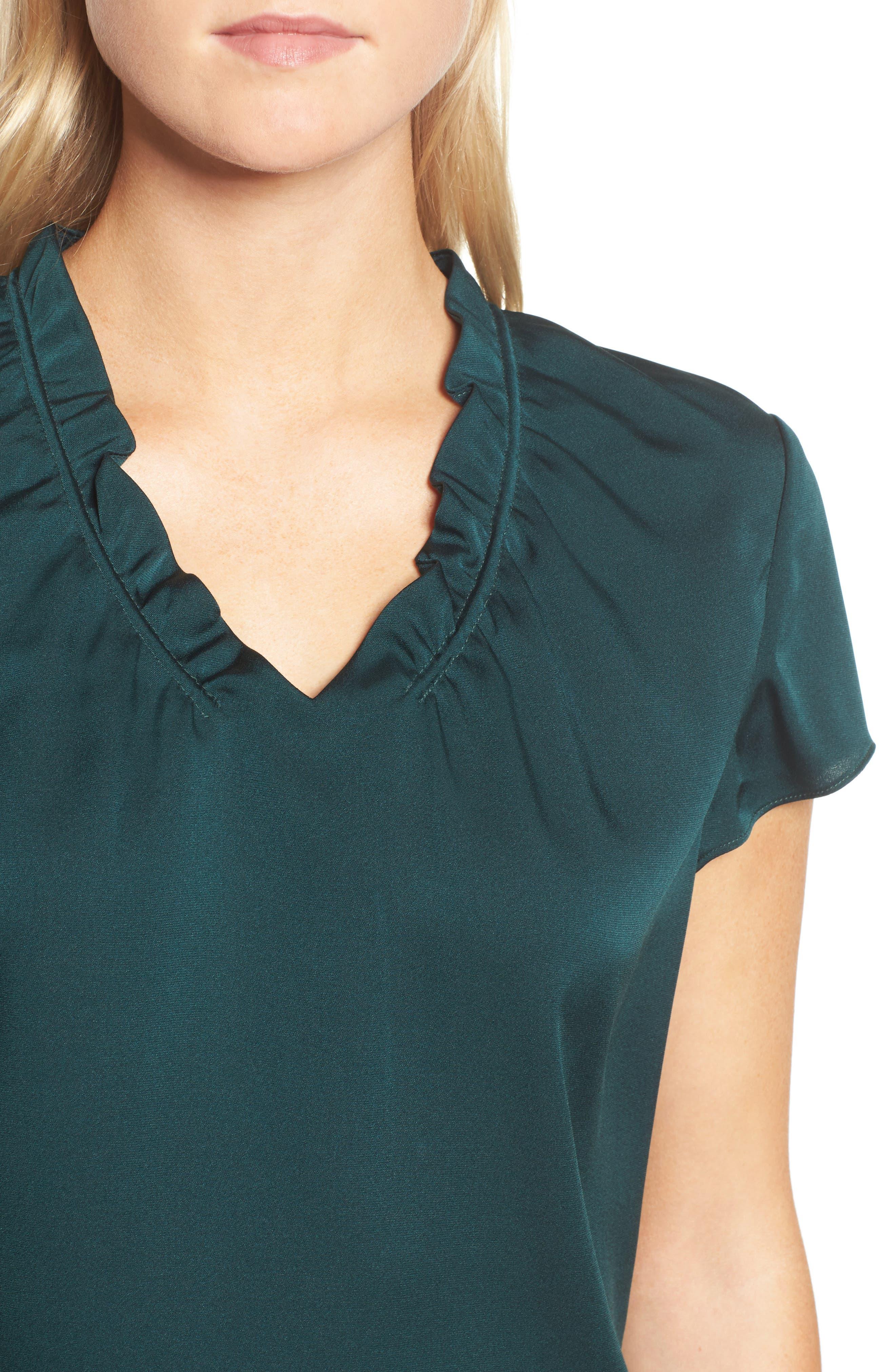 Isamara Stretch Silk Top,                             Alternate thumbnail 4, color,                             Peacock Green