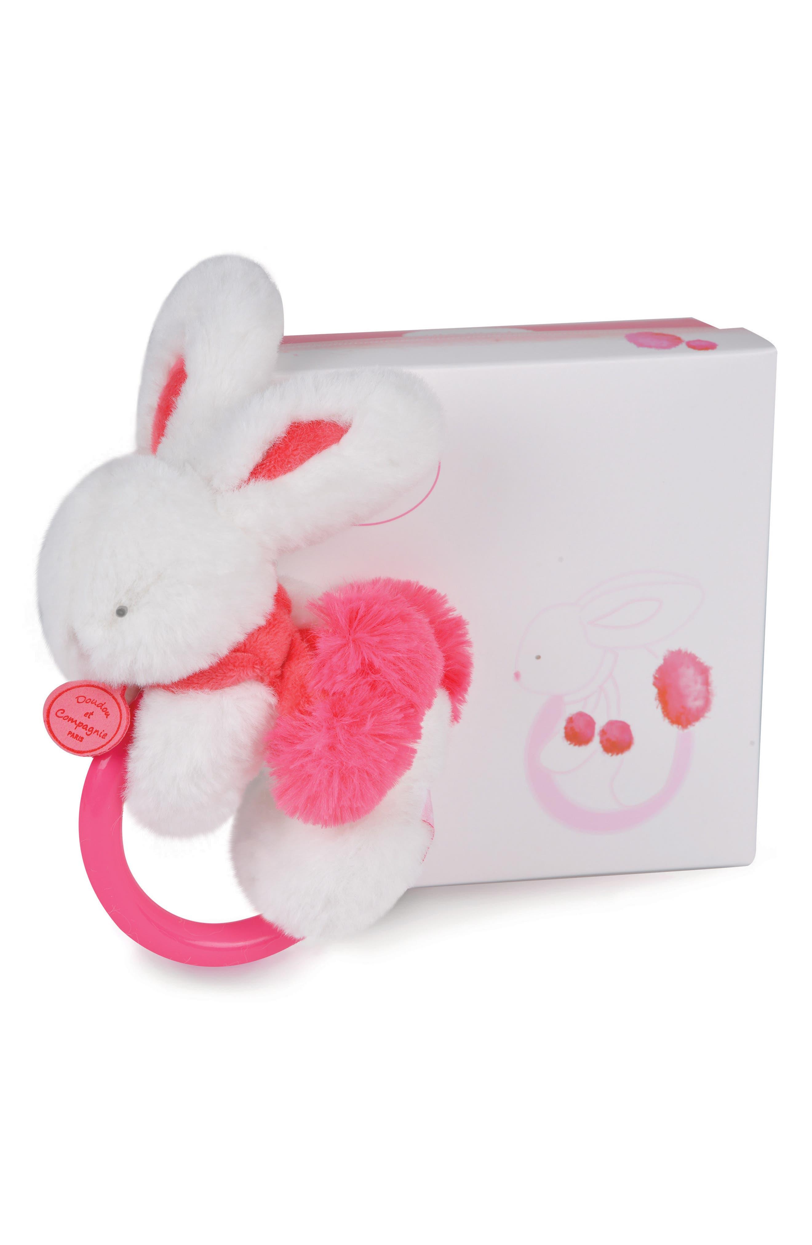 Strawberry Pink Bunny Rattle & Lovie Blanket Gift Set,                             Alternate thumbnail 2, color,                             Strawberry Pink