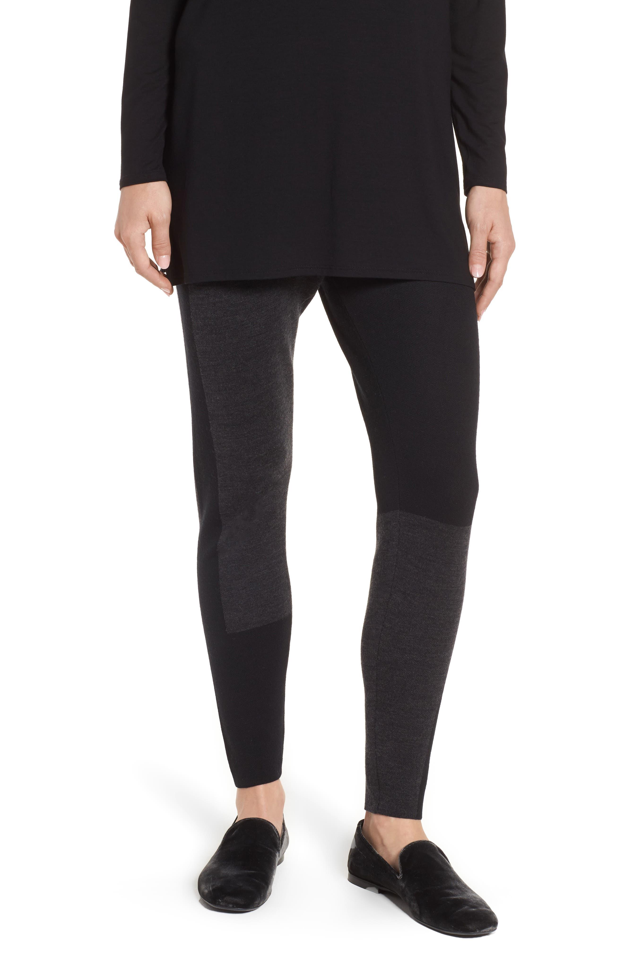 Colorblock Leggings,                         Main,                         color, Charcoal Black