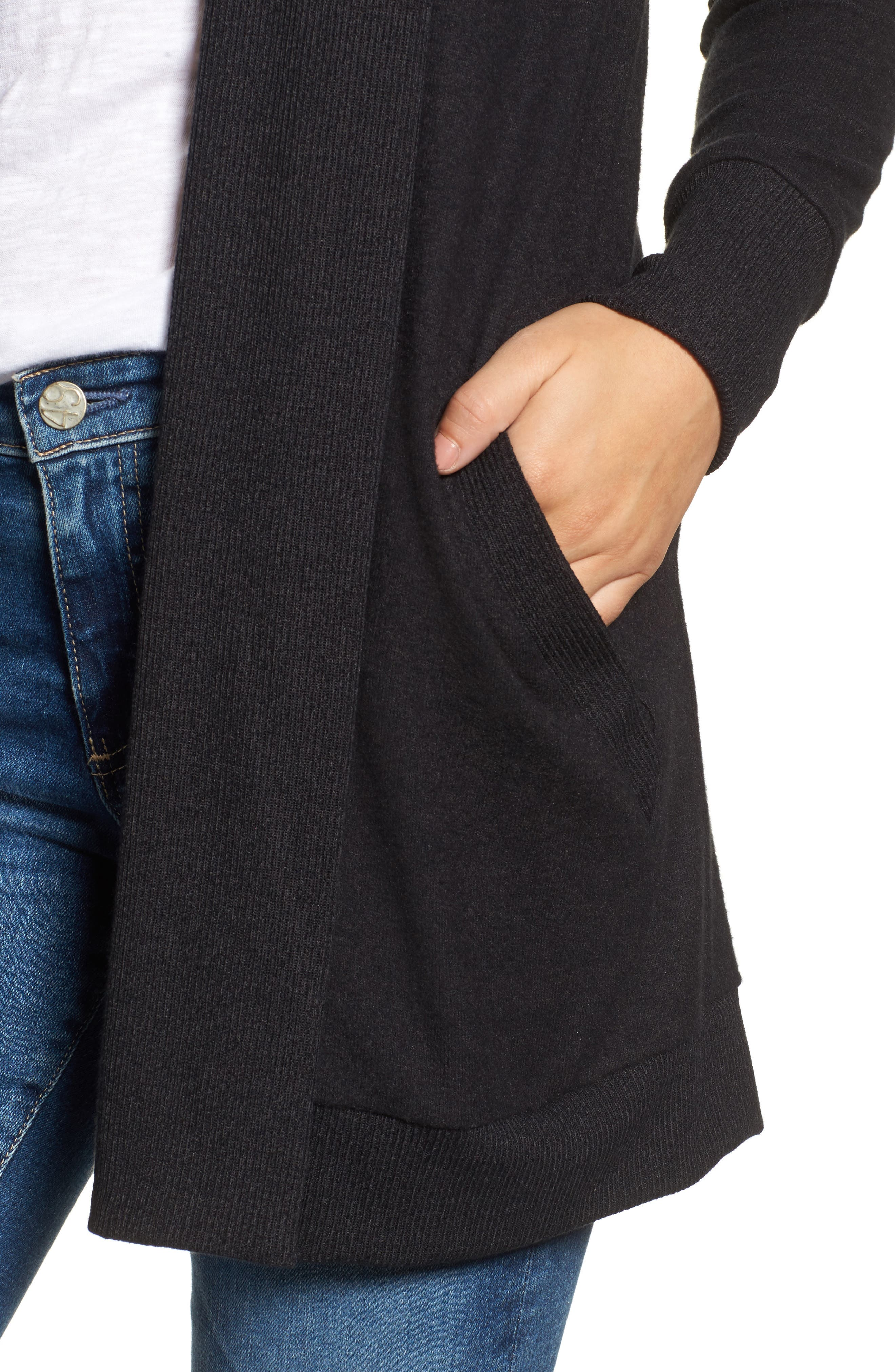 Cozy Ribbed Cardigan,                             Alternate thumbnail 4, color,                             Charcoal