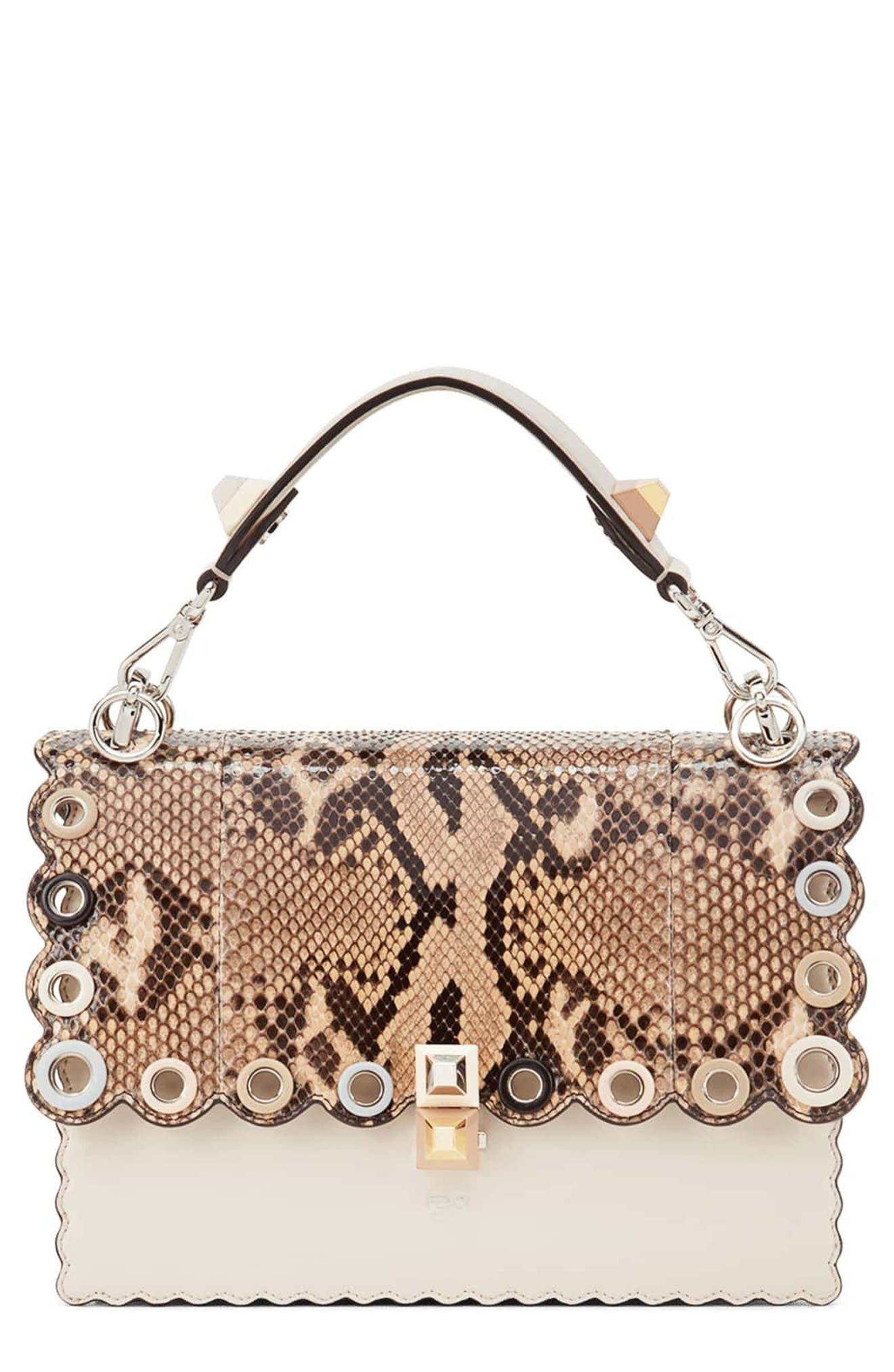 Small Kan I Genuine Python & Calfskin Shoulder Bag,                             Main thumbnail 1, color,                             Camelia/ Makeup/ Python