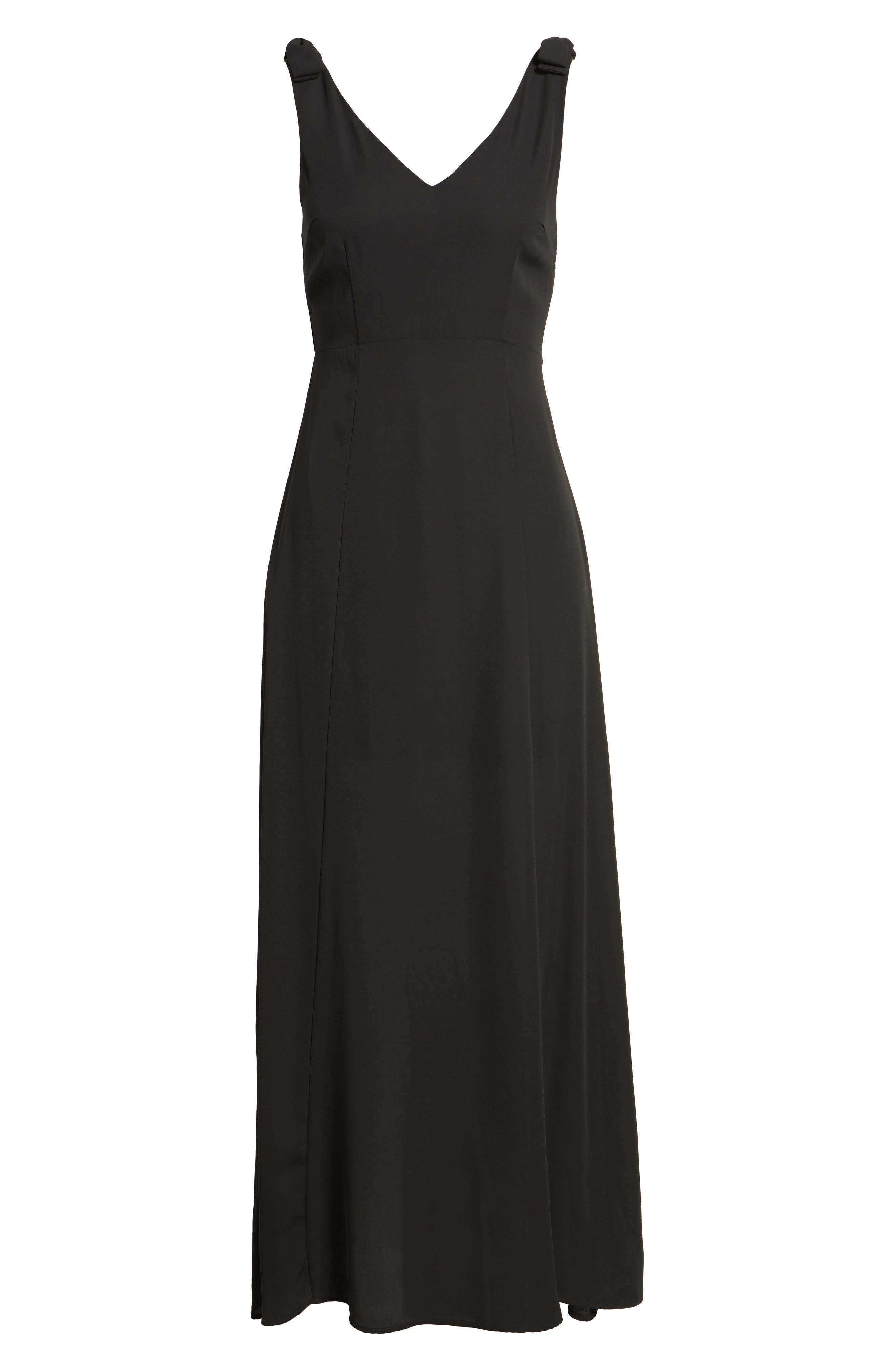Tie Strap Maxi Dress,                             Alternate thumbnail 6, color,                             Black
