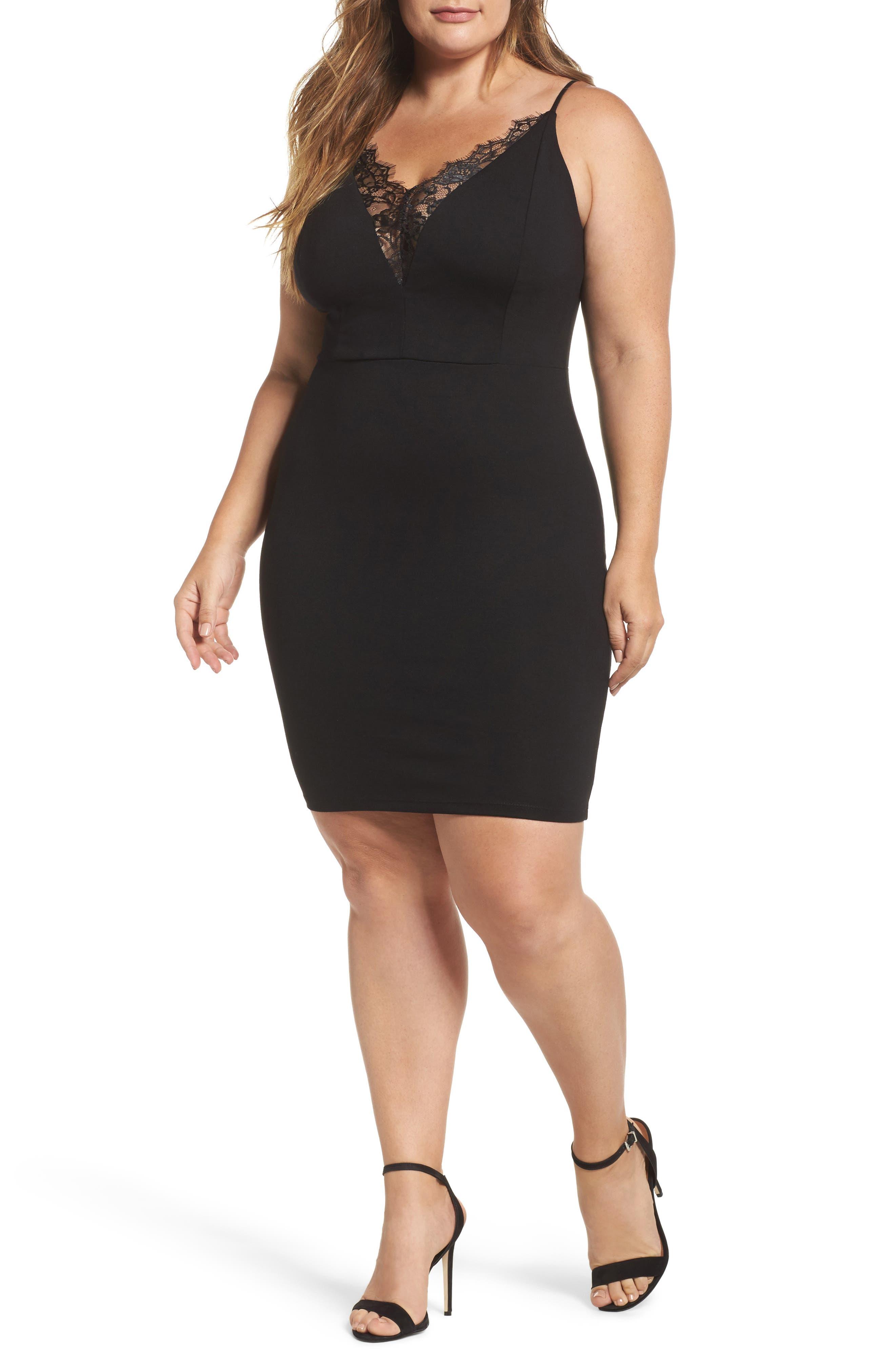 Lace Trim Body-Con Dress,                         Main,                         color, Black