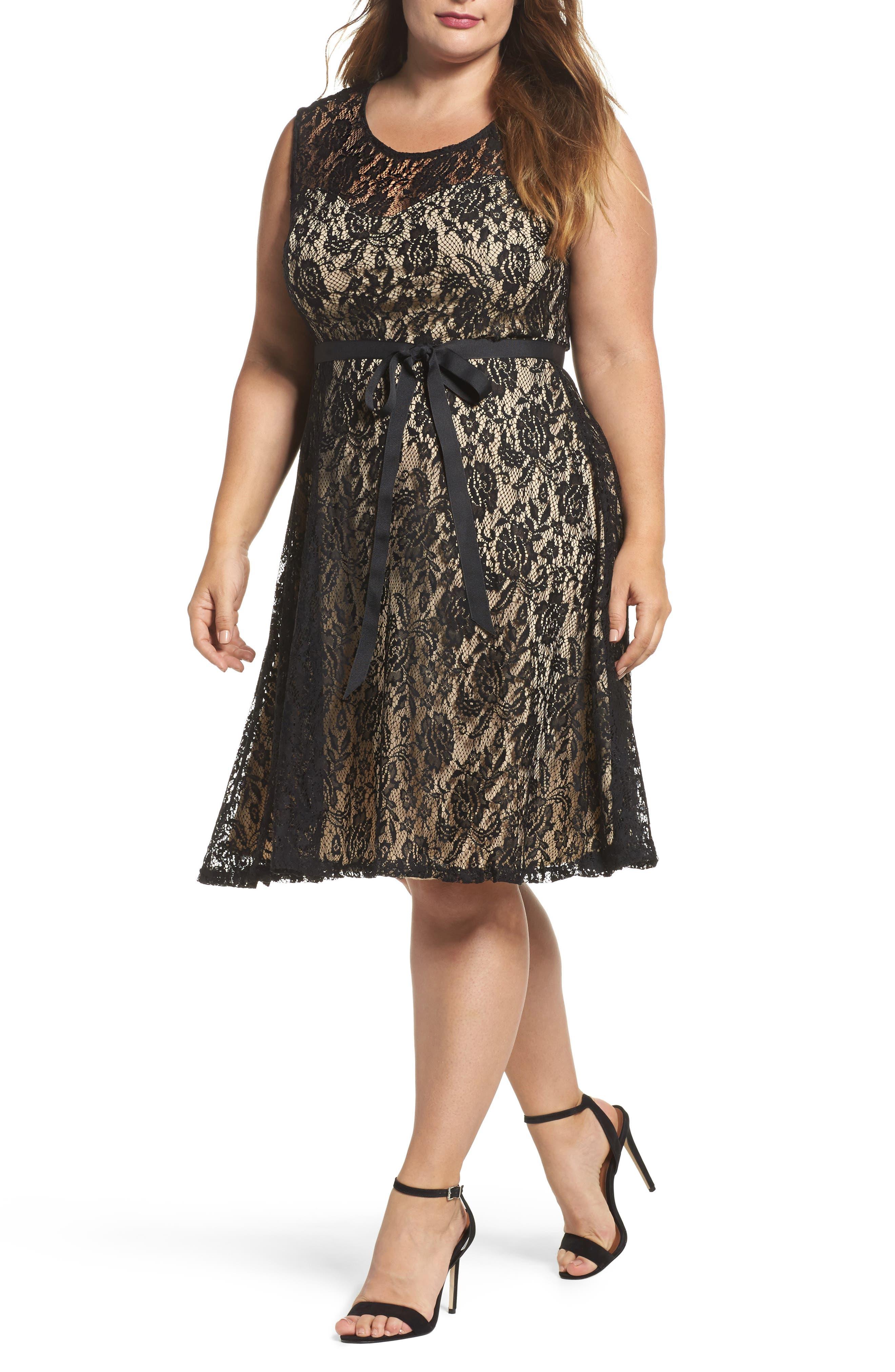 Tie Waist Lace Dress,                         Main,                         color, Black