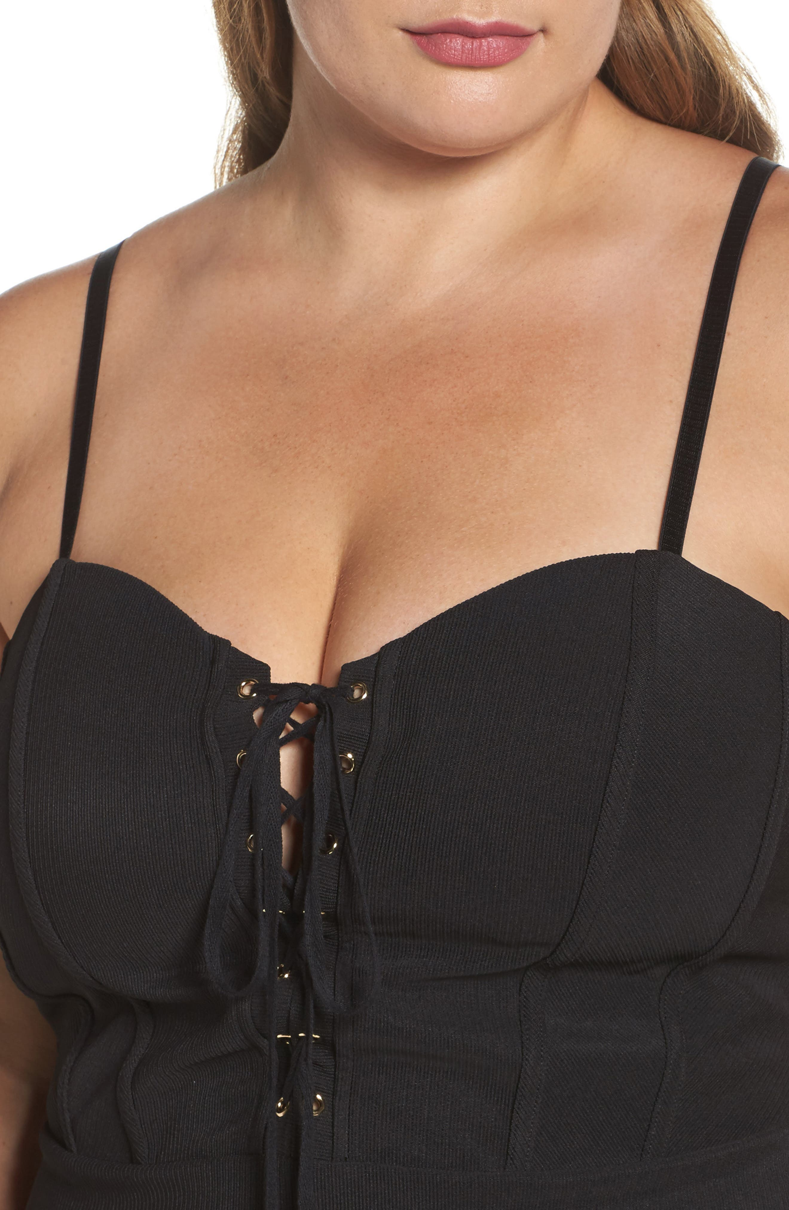 Corset Body-Con Dress,                             Alternate thumbnail 4, color,                             Black