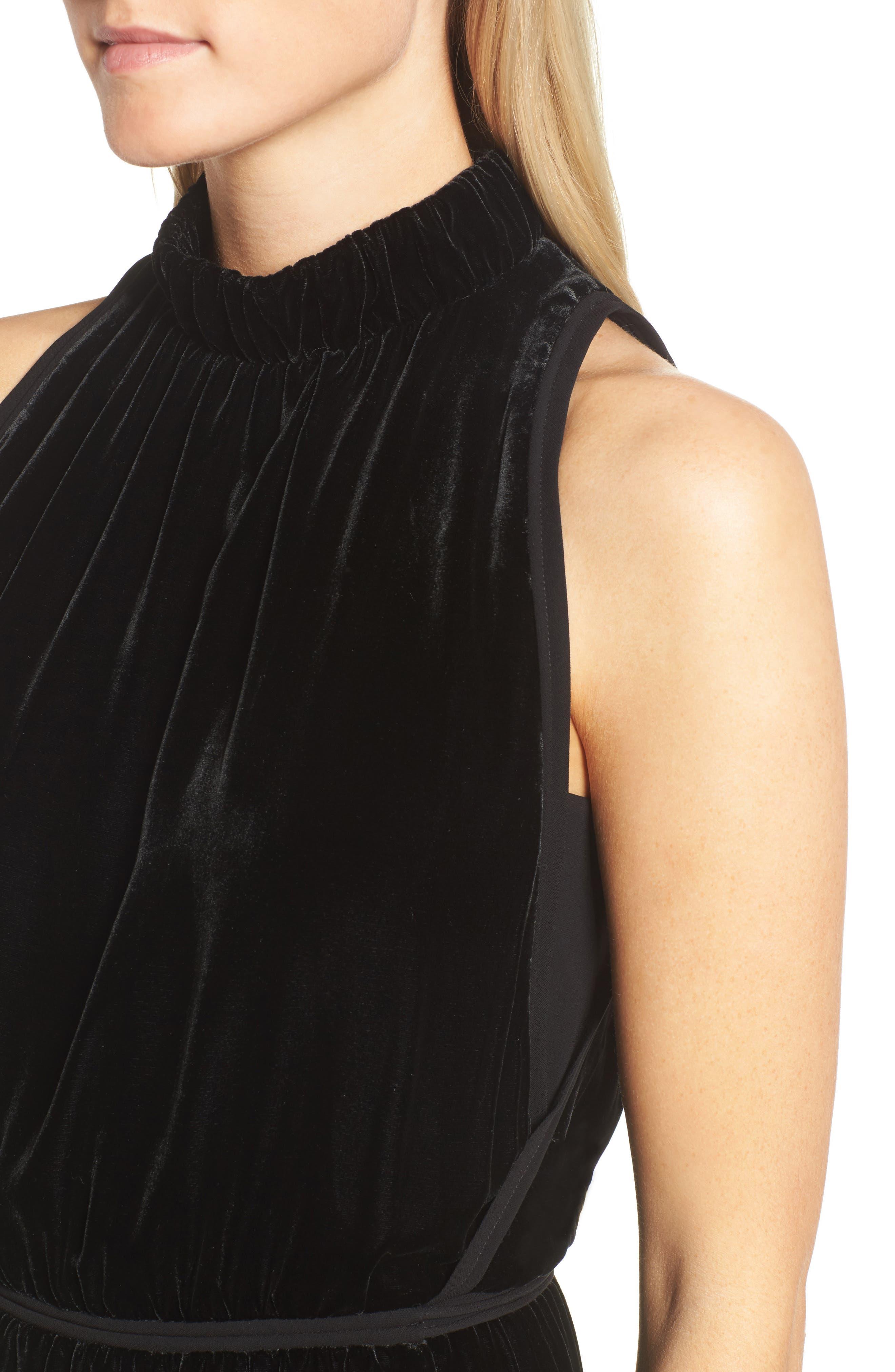 Difosia Velvet Midi Dress,                             Alternate thumbnail 4, color,                             Black