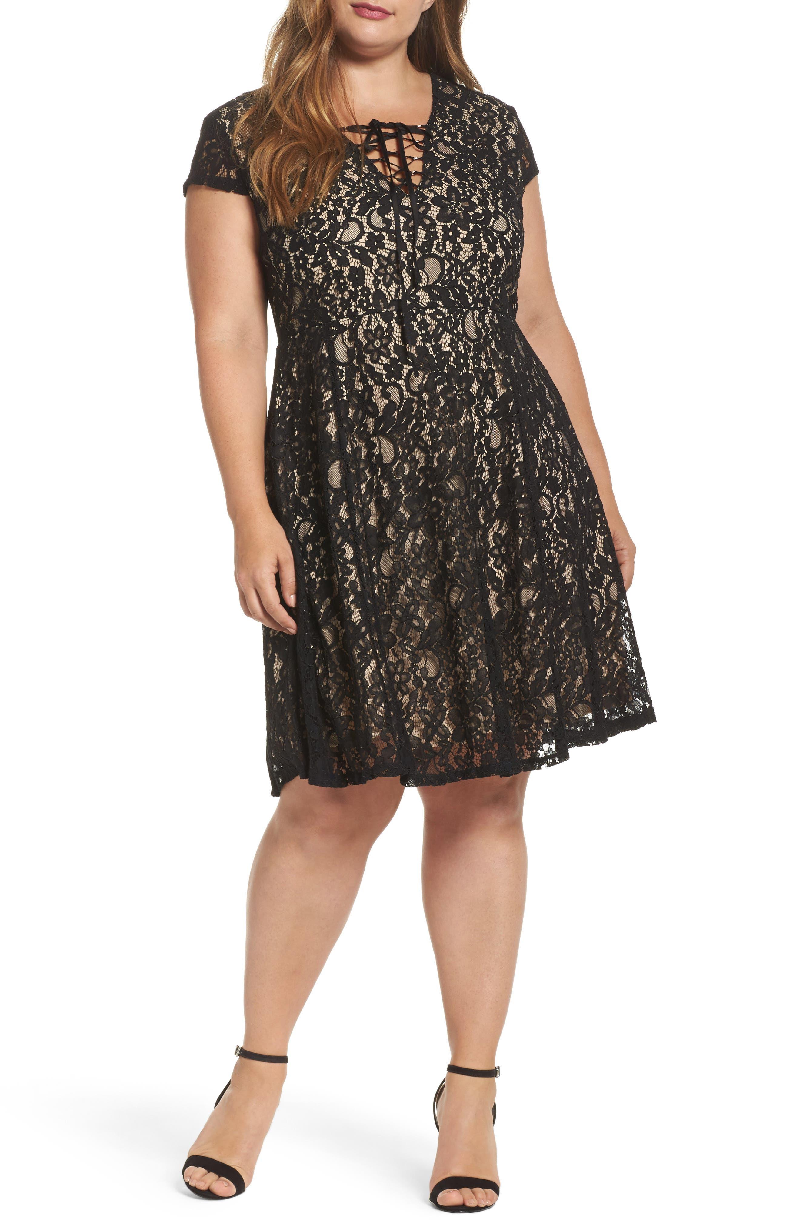 Tie Front Lace Dress,                         Main,                         color, Black