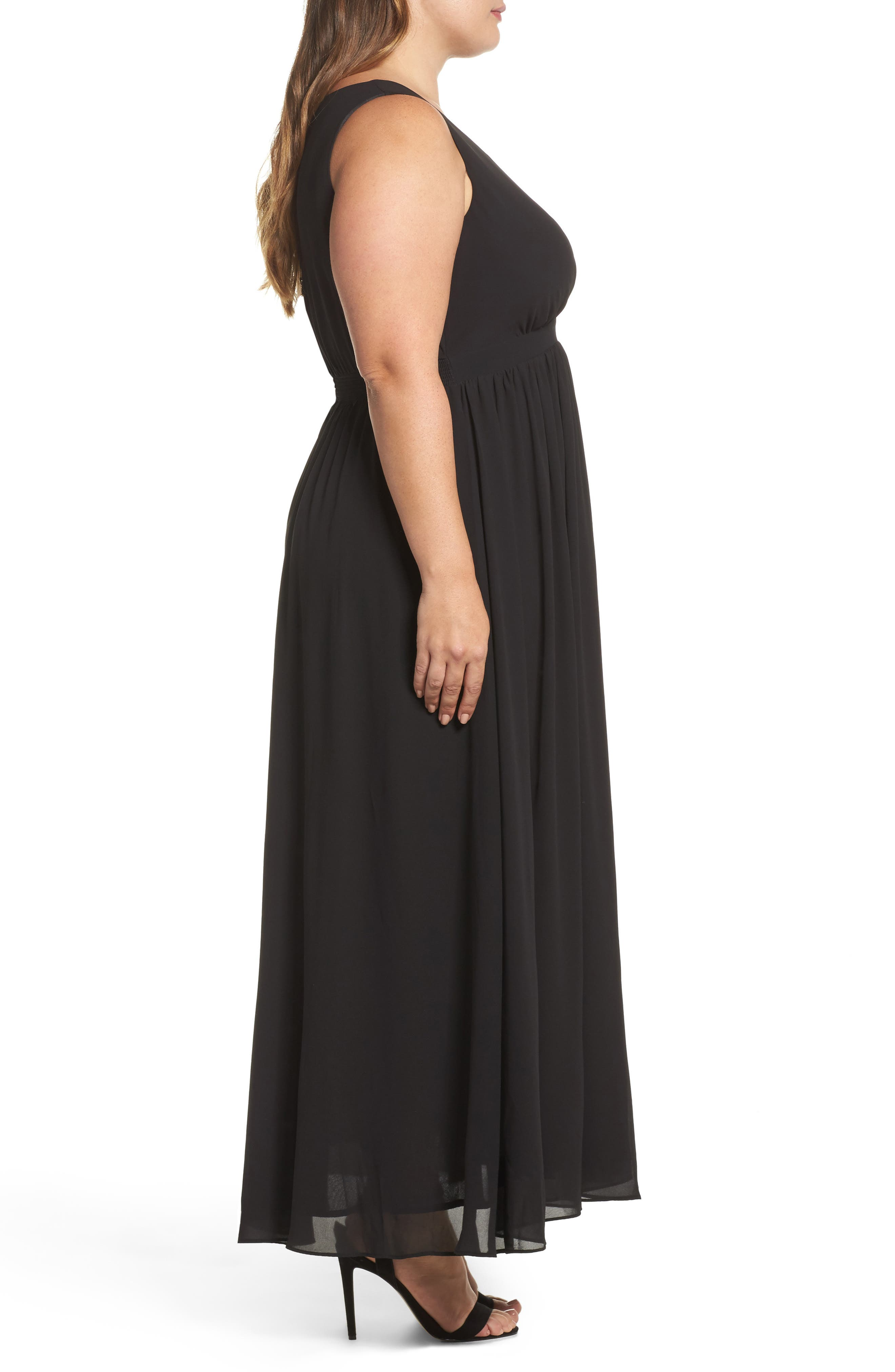 Lace Inset Maxi Dress,                             Alternate thumbnail 3, color,                             Black