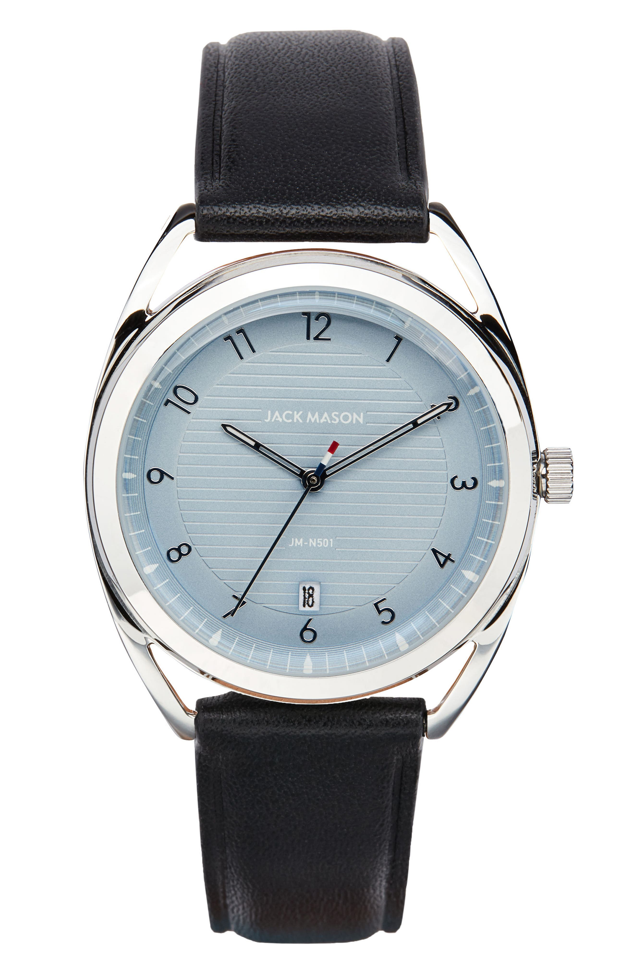 Deck Leather Strap Watch, 36mm,                             Main thumbnail 1, color,                             Black/ Blue/ Silver