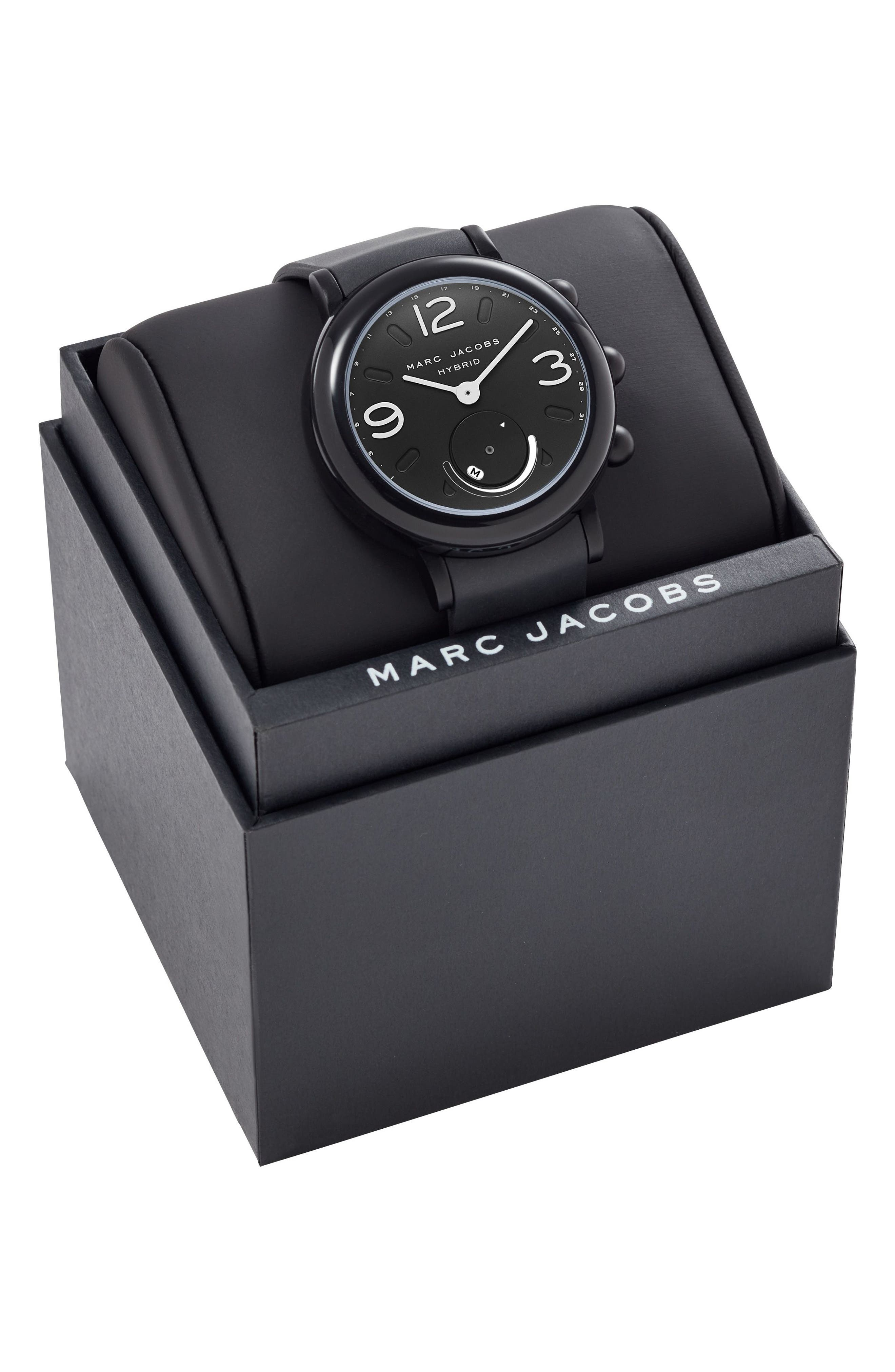 Riley Hybrid Rubber Strap Watch, 42mm,                             Alternate thumbnail 6, color,                             Black