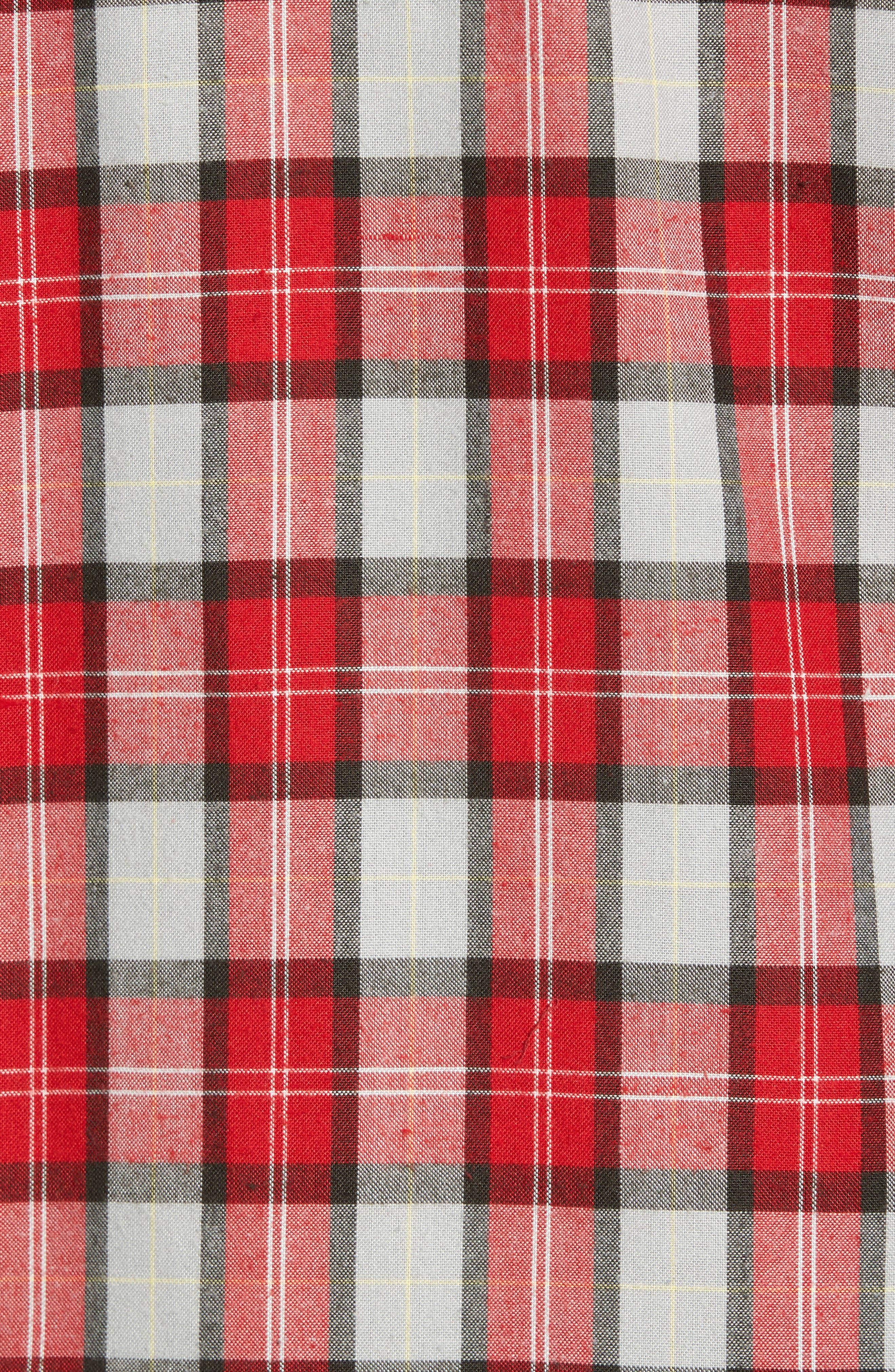 Bone Flannel Shirt,                             Alternate thumbnail 6, color,                             Pompei Red